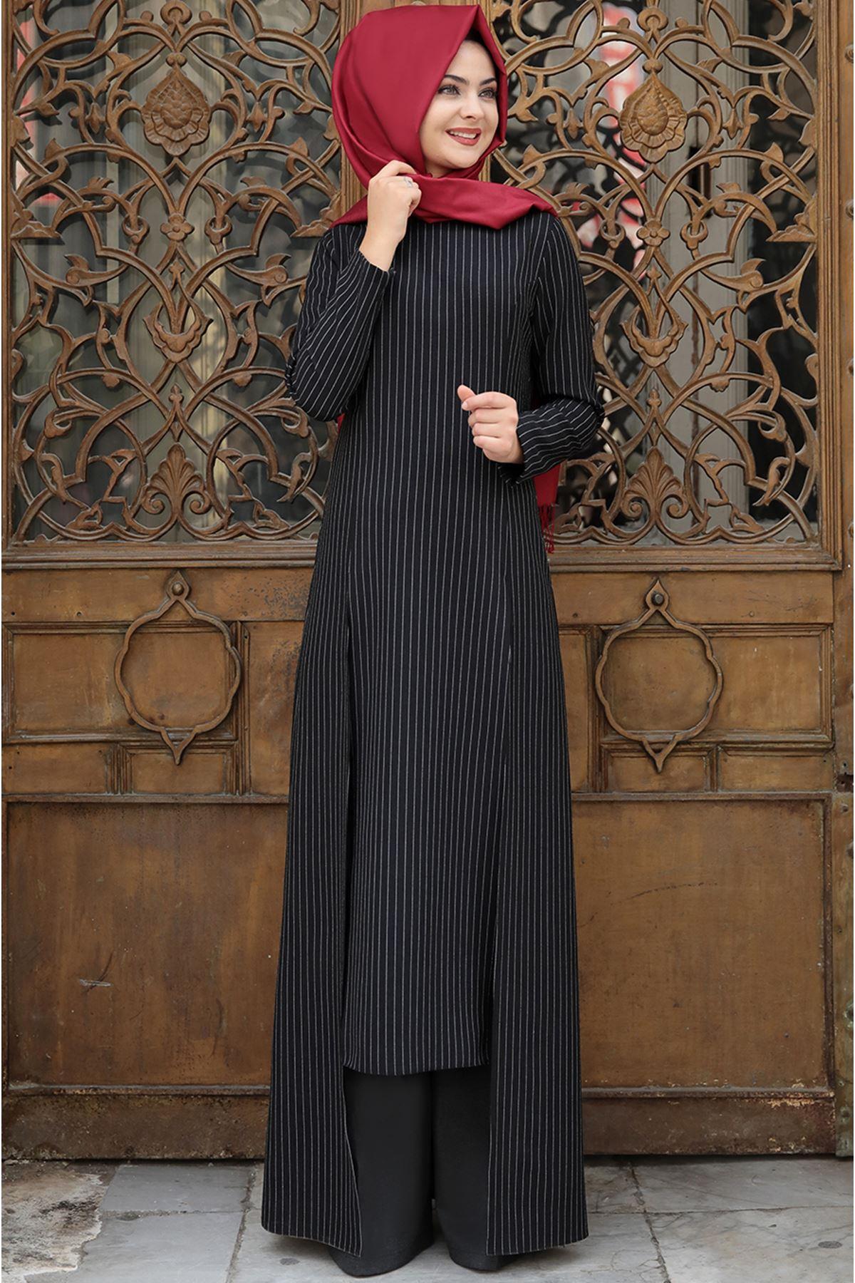Pınar Şems Çizgili Uzun Tunik Siyah