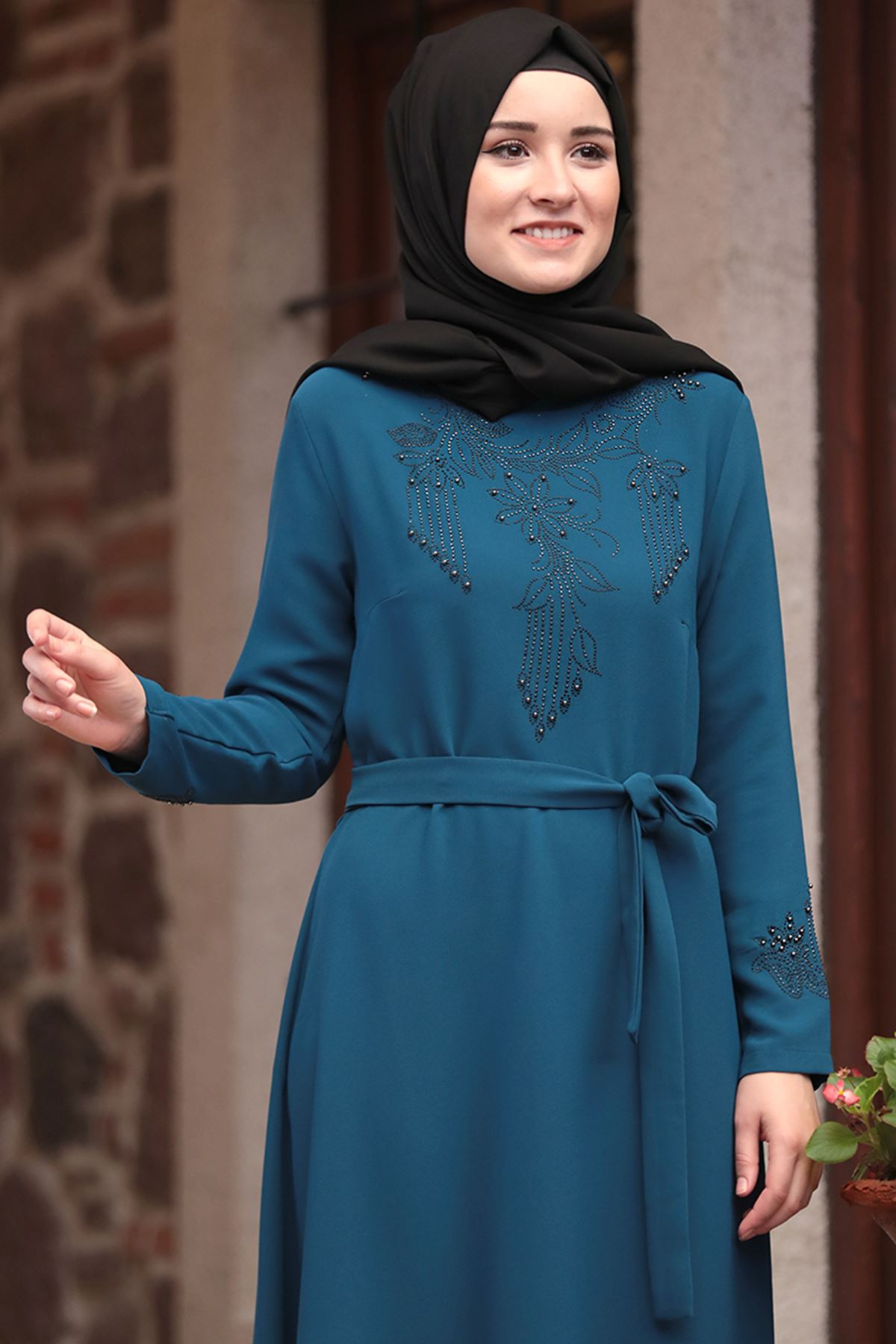 Amine Hüma - Zümrüt Elbise İndigo AMİ1041