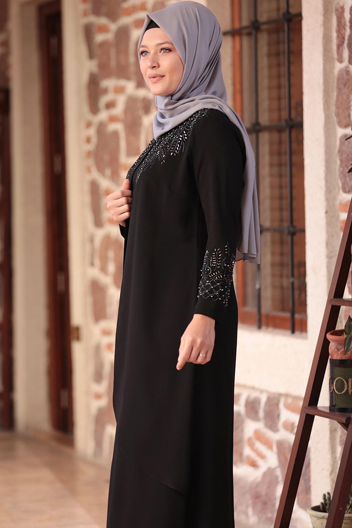 Amine Hüma - Bahar Abiye Siyah AMİ1040
