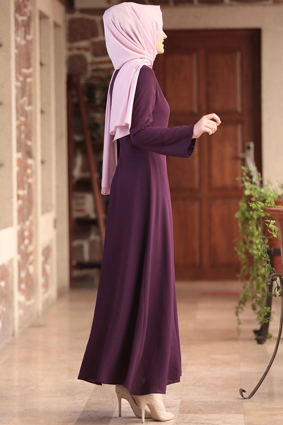 Amine Hüma - Nur Elbise Mor AMİ1039