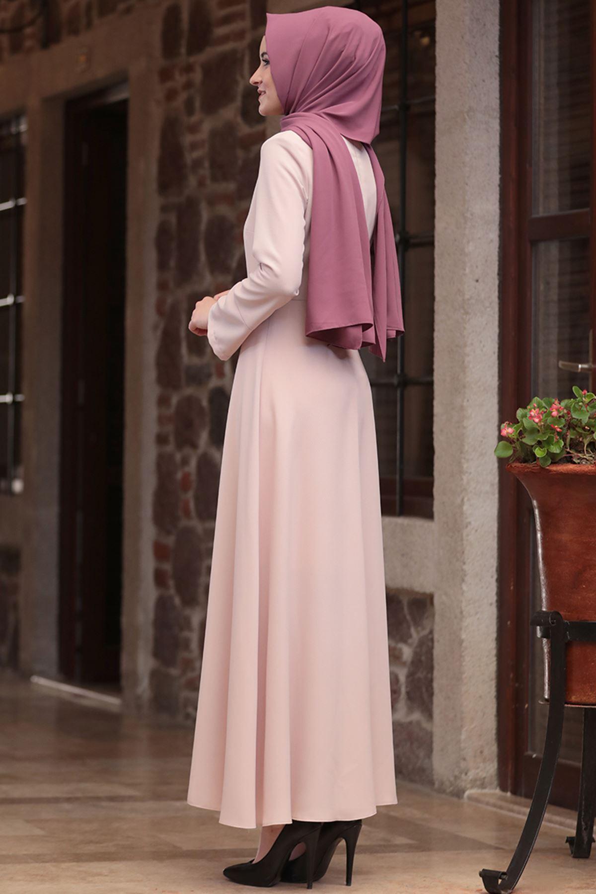 Amine Hüma - Nur Elbise Pudra AMİ1039
