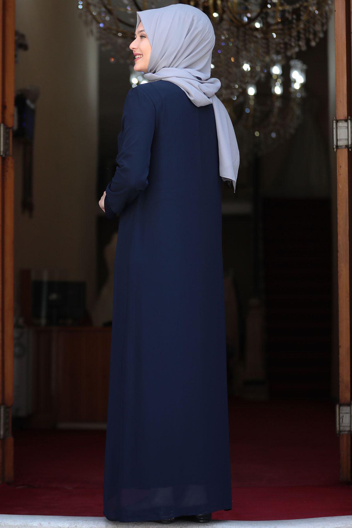 Amine Hüma - Parıltı Abiye Lacivert AMİ1033