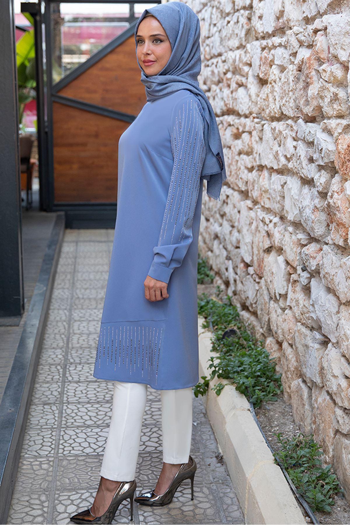 Taş Detaylı Tunik Bebe Mavi