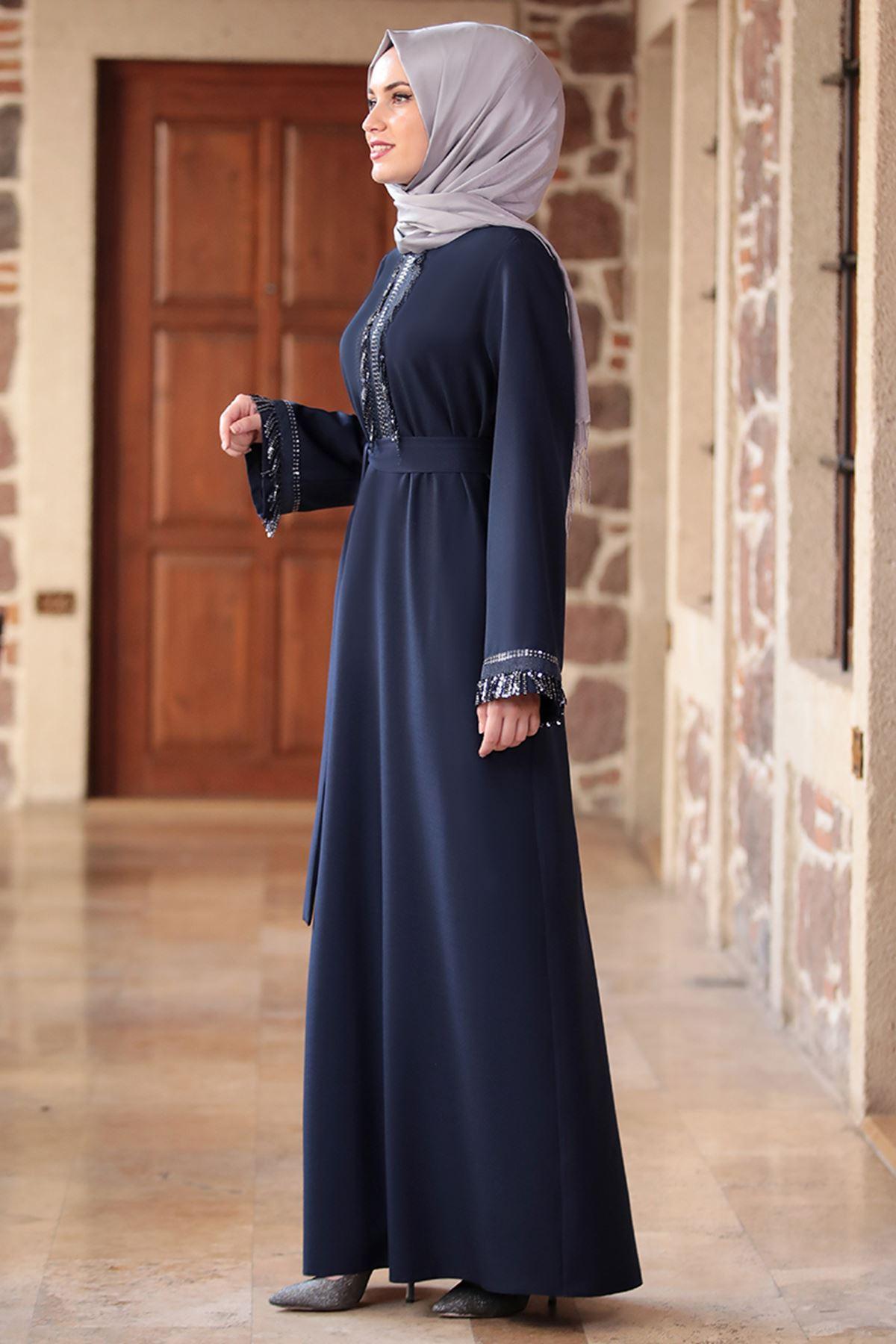 Emsale Henna Elbise Lacivert EMS8307