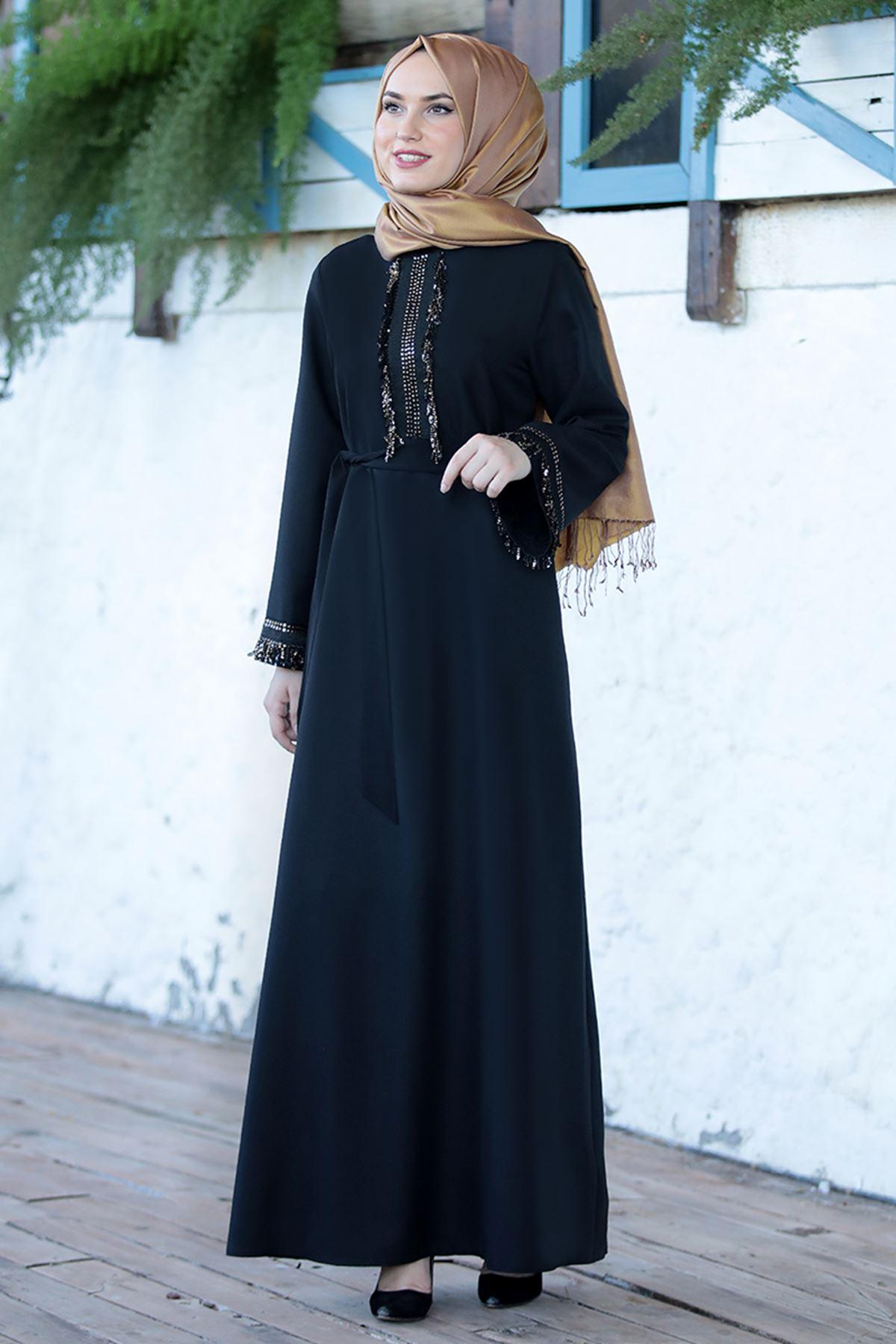 Emsale Henna Elbise Siyah EMS8307