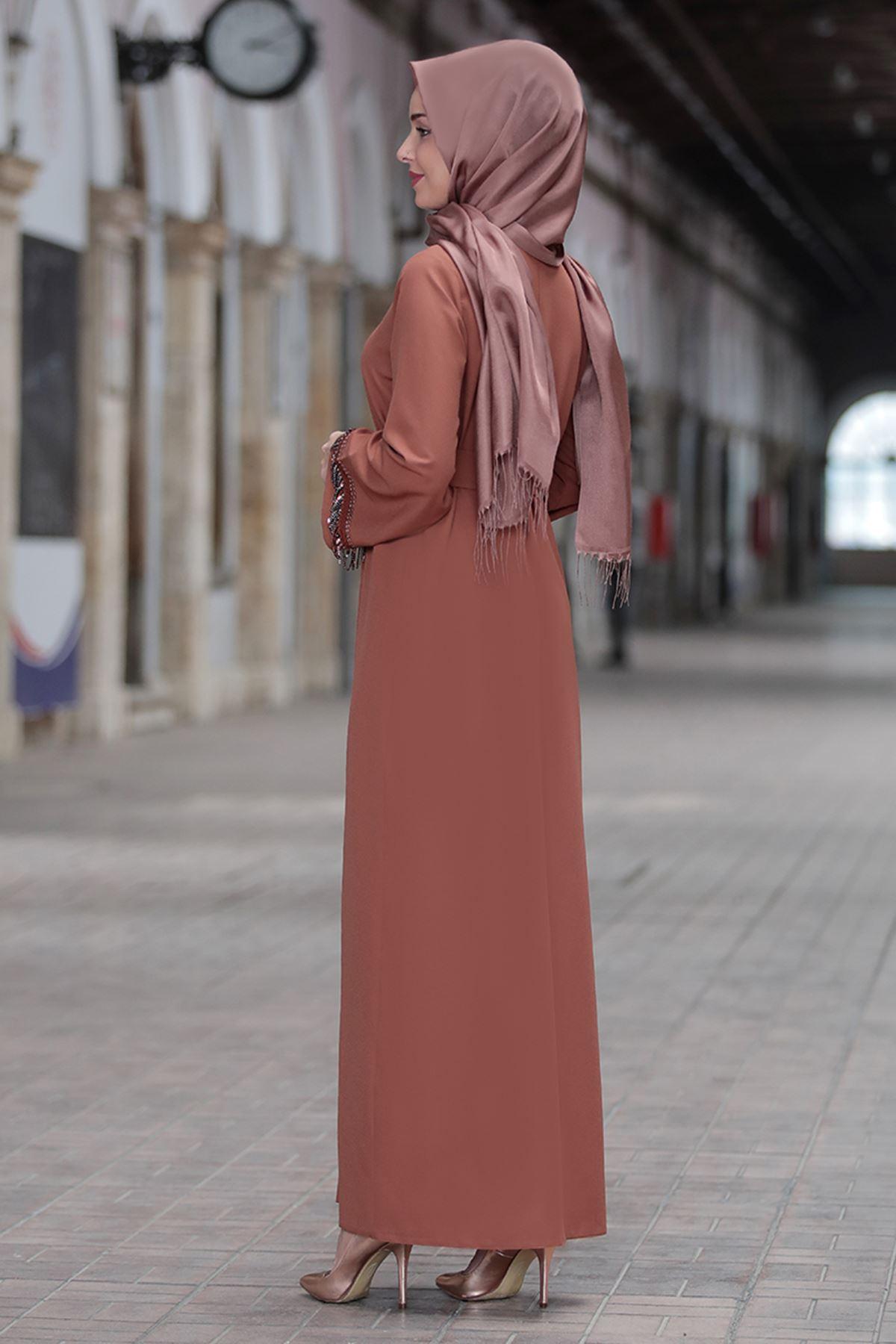 Emsale Henna Elbise Taba EMS8307