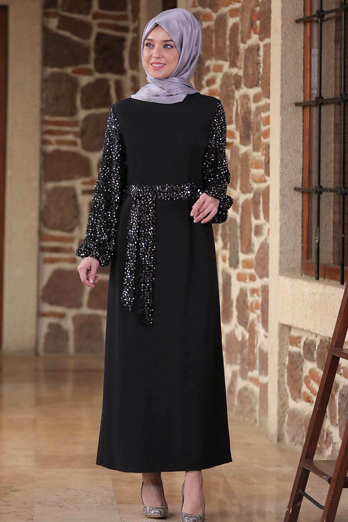 Emsale Nefes Elbise Siyah Gümüş EMS8306