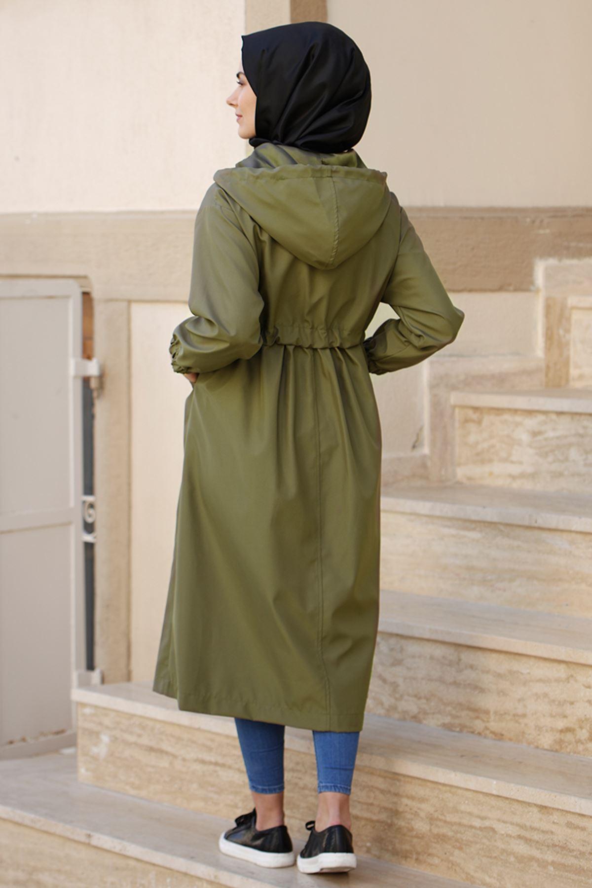 Tesettür Abiye Meyra Trenç Yeşil TES30000