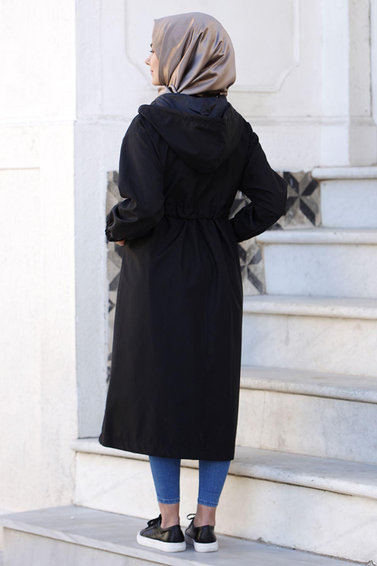 Tesettür Abiye Meyra Trenç Siyah TES30000