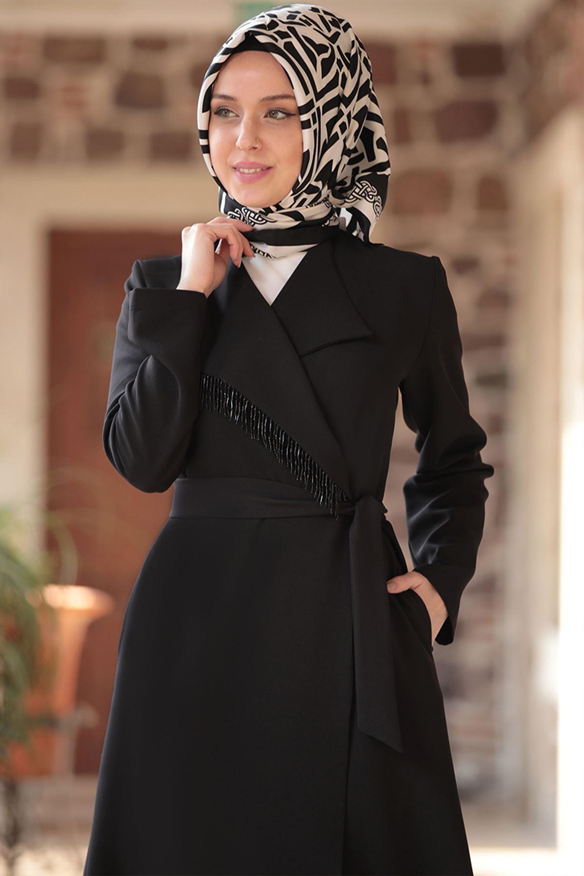 Emsale Hira Ceket Pantolon Takım Siyah EMS8316