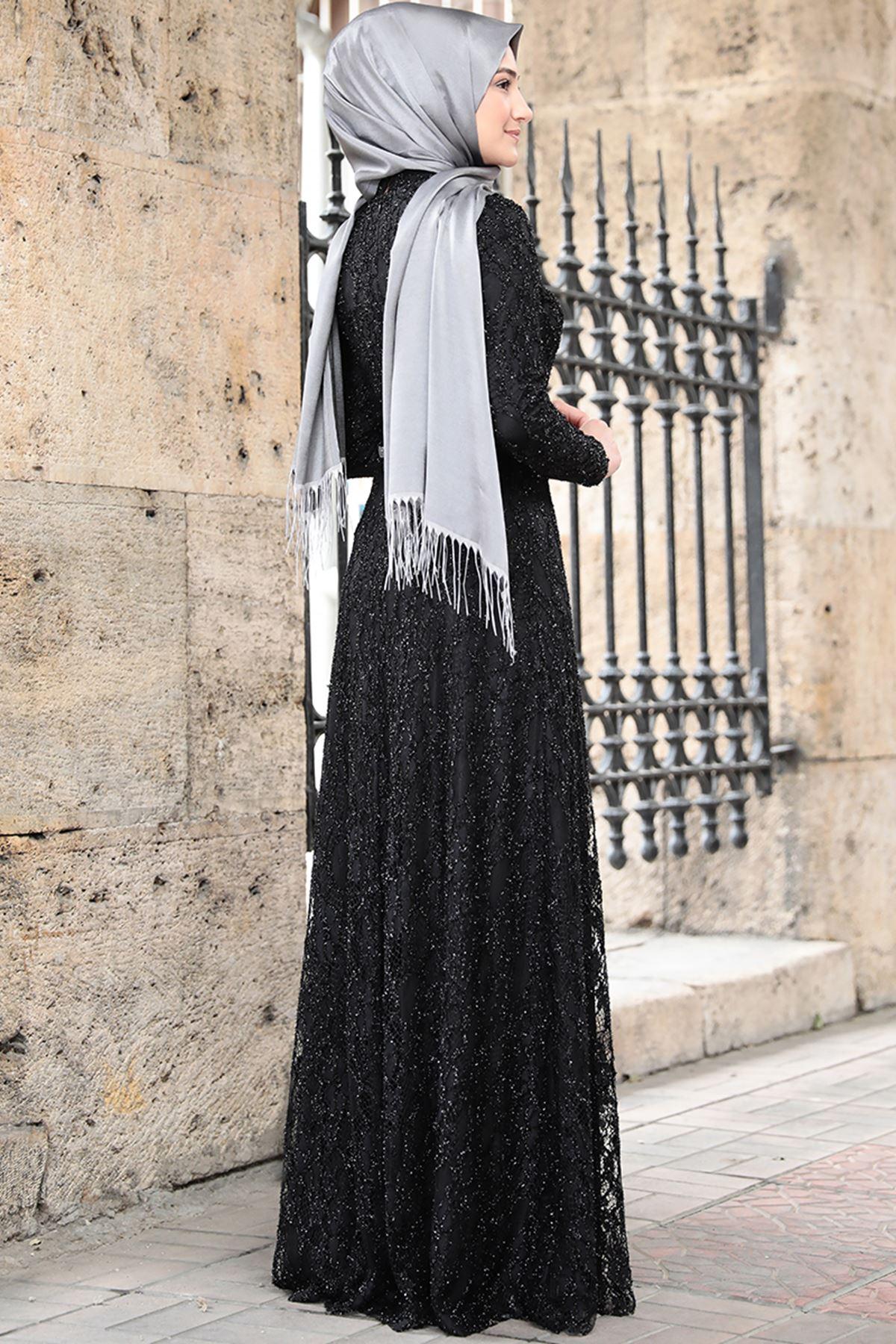 Rabeysa İpek Elbise Siyah RAB8507