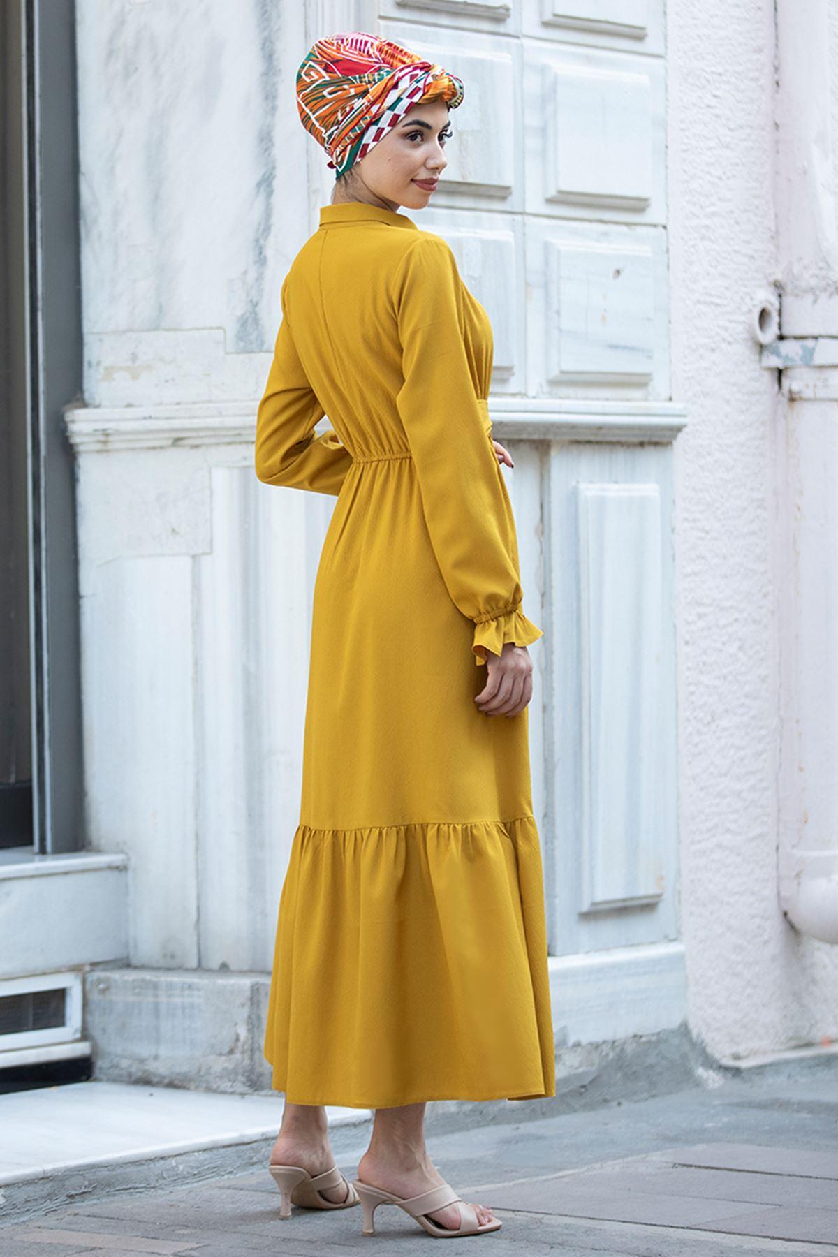 Piennar Vera Büzgülü Elbise Hardal PİE1518
