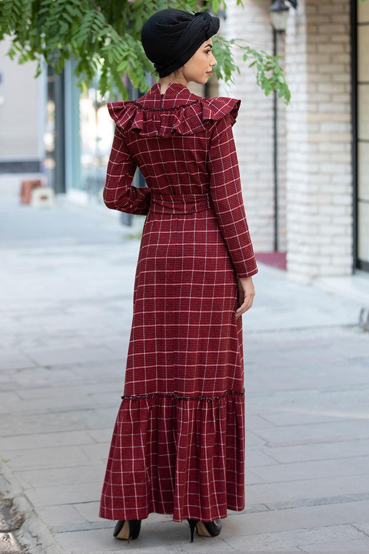 Piennar Kare Ekose Elbise Bordo PİE1513