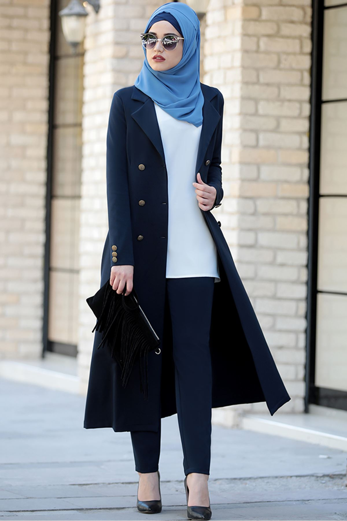 Piennar Rabia Ceket Pantolon Takım Lacivert  PİE1502