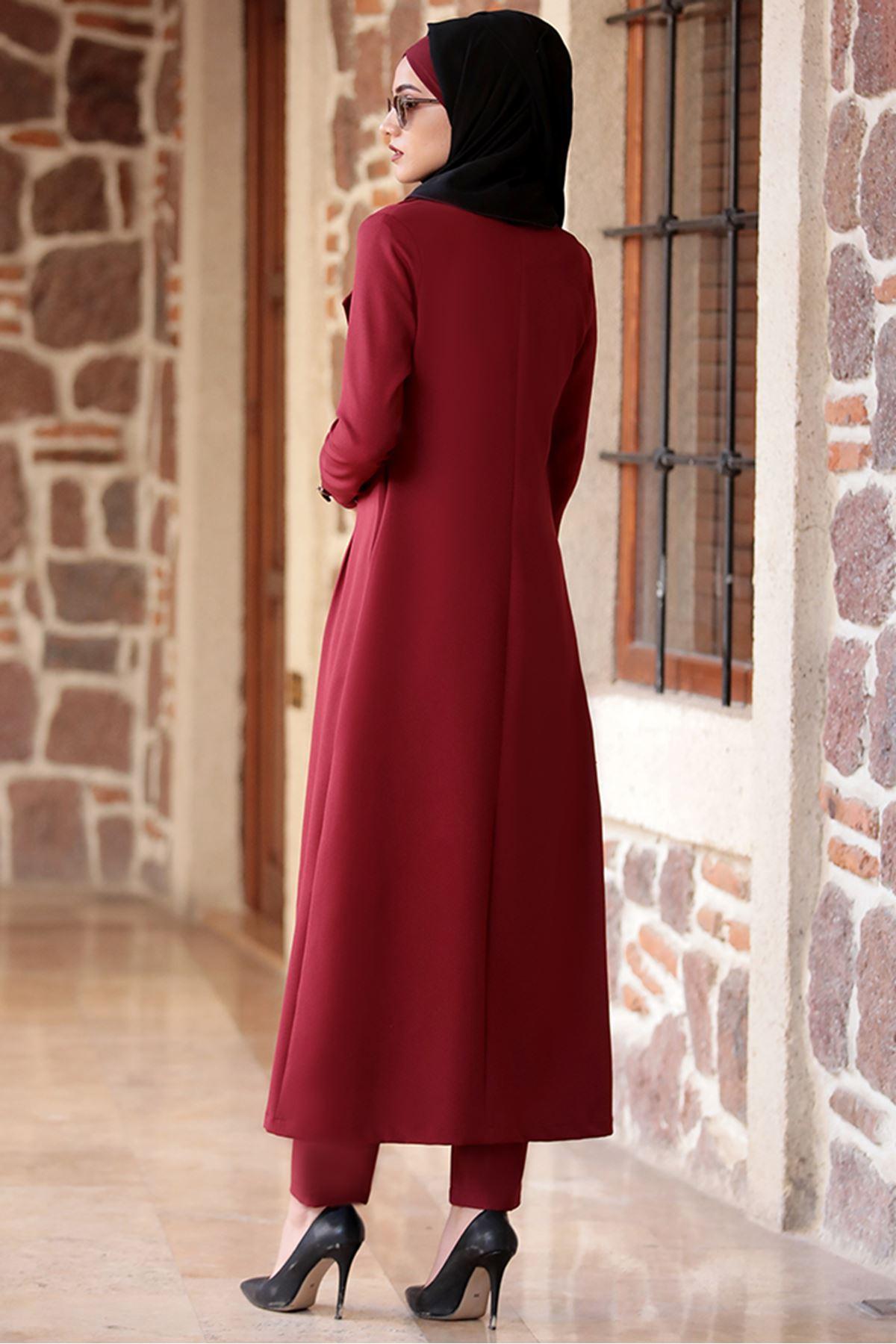 Piennar Rabia Ceket Pantolon Takım Bordo PİE1502