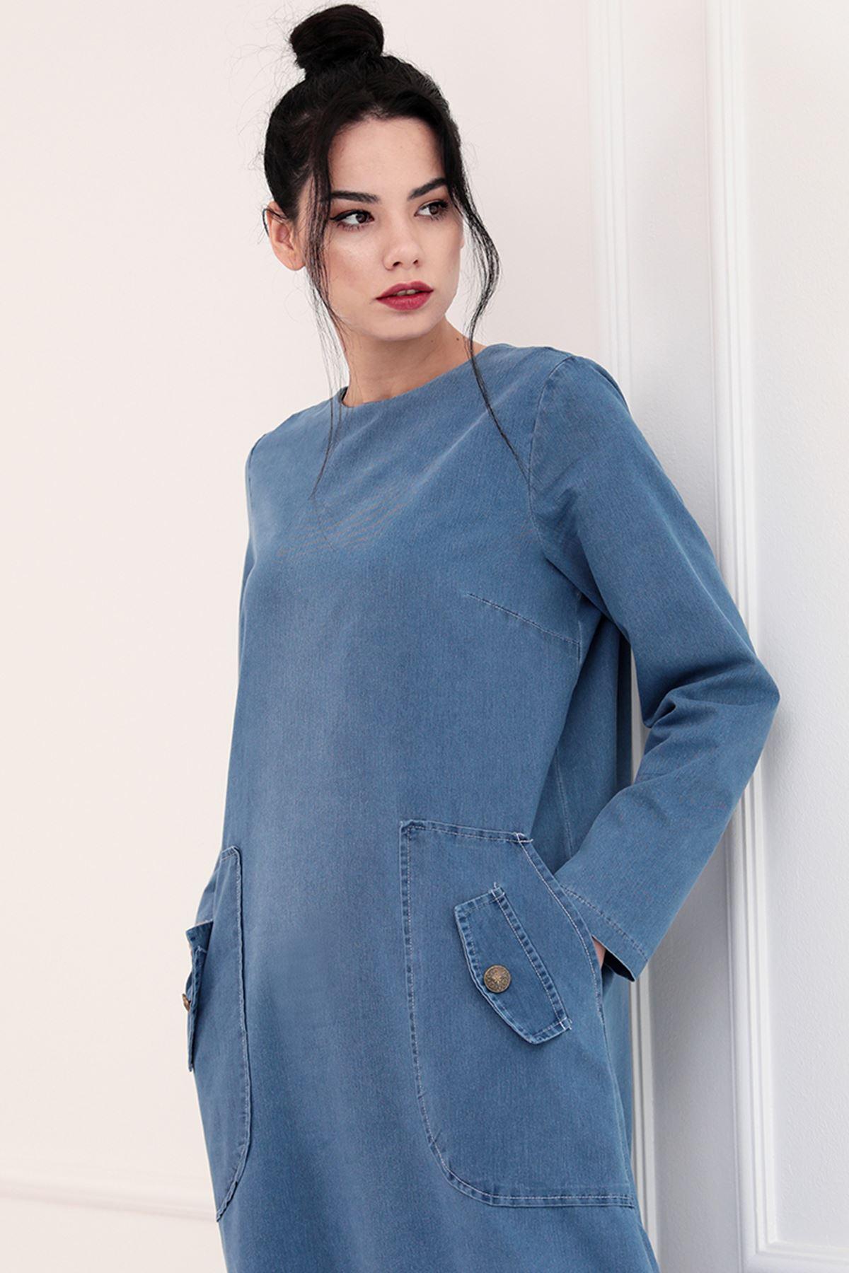 Piennar  Rengin Kot Elbise Mavi PİE1505