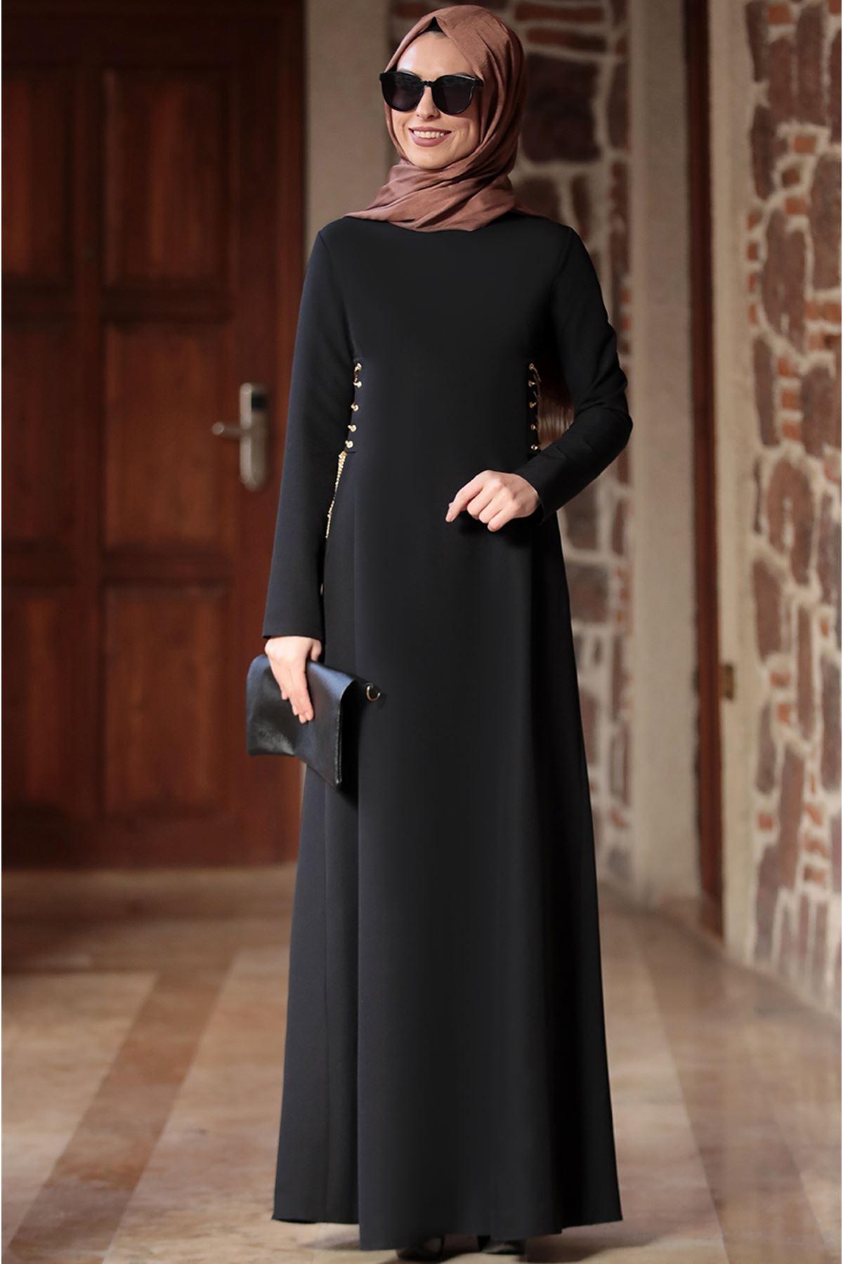 Ranazenn Beste Elbise Siyah RAN6907