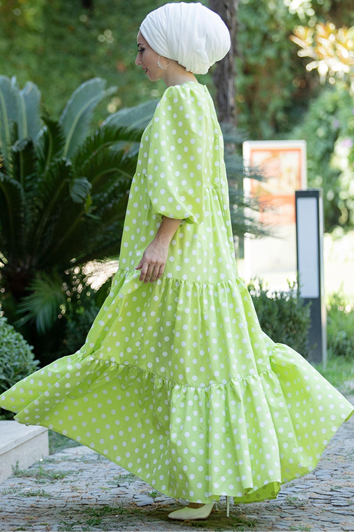 Lefzen Puantiyeli Yeşil Elbise LEF4520