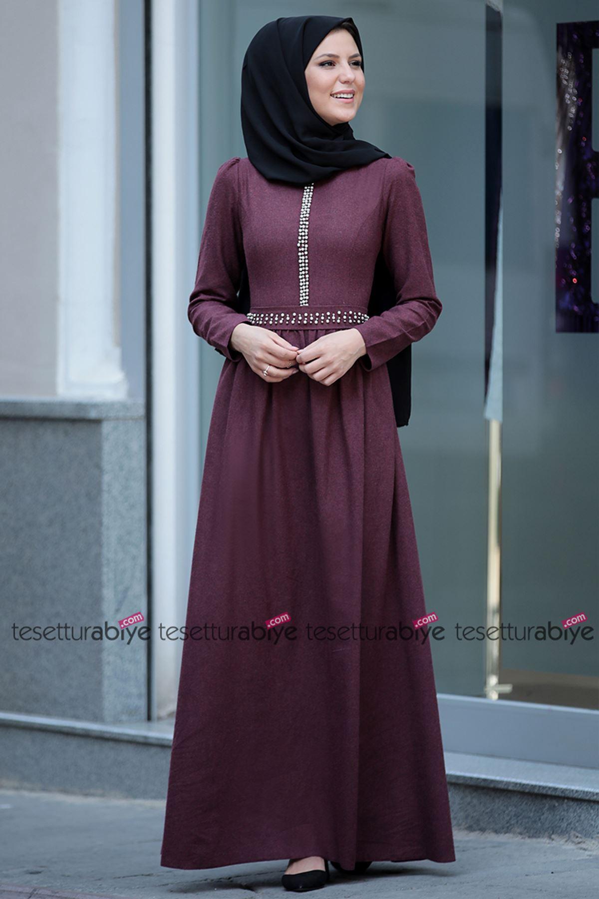 Fahrunnisa İnci Detaylı Elbise Bordo FAH8003