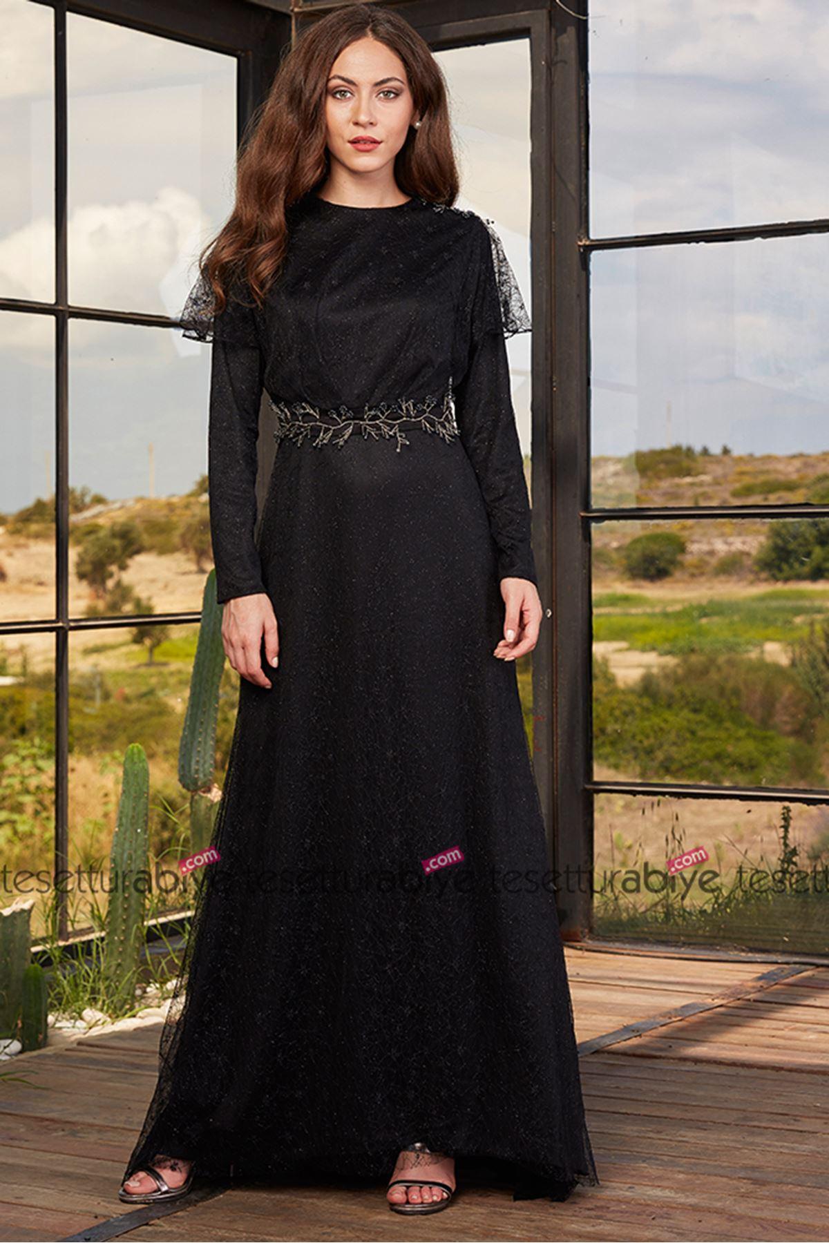 Annahar İzgi Abiye Siyah ANH9709