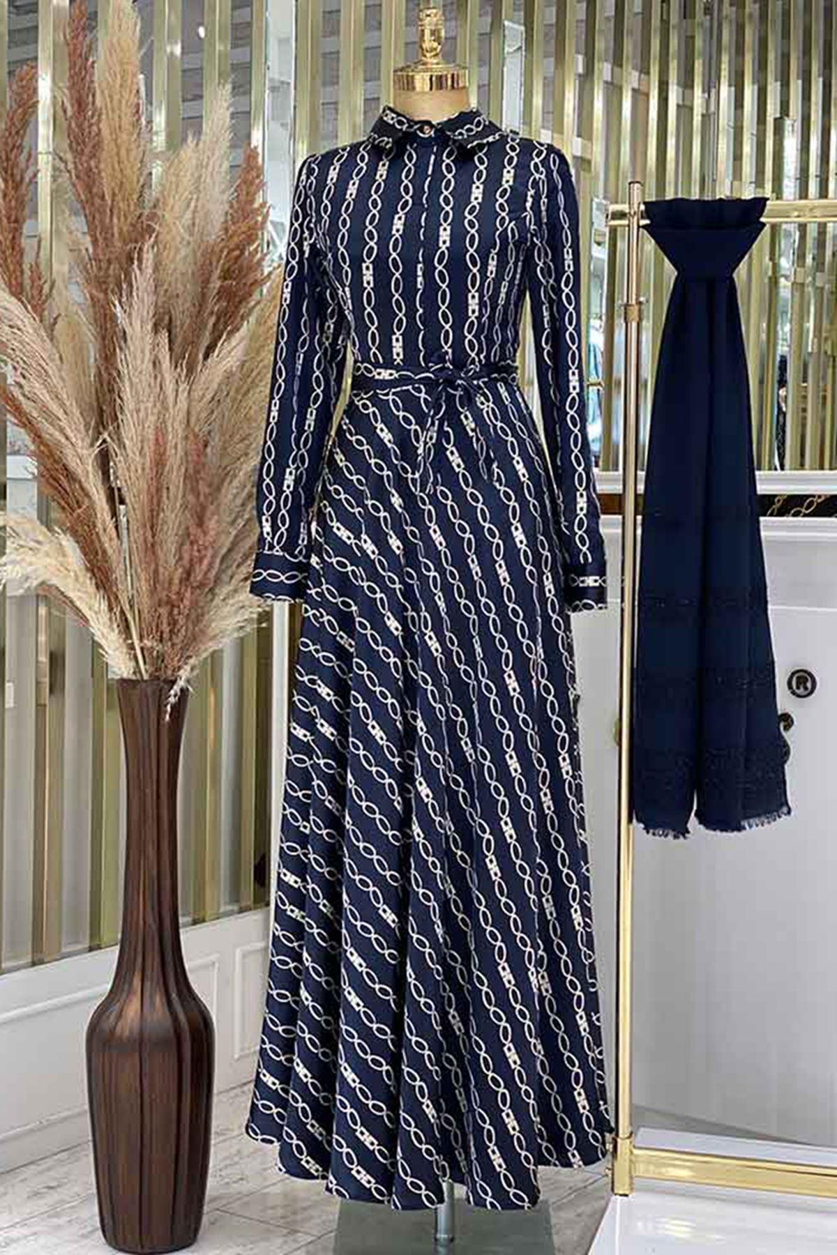 Pınar Şems Zincir Elbise Lacivert PNR6129