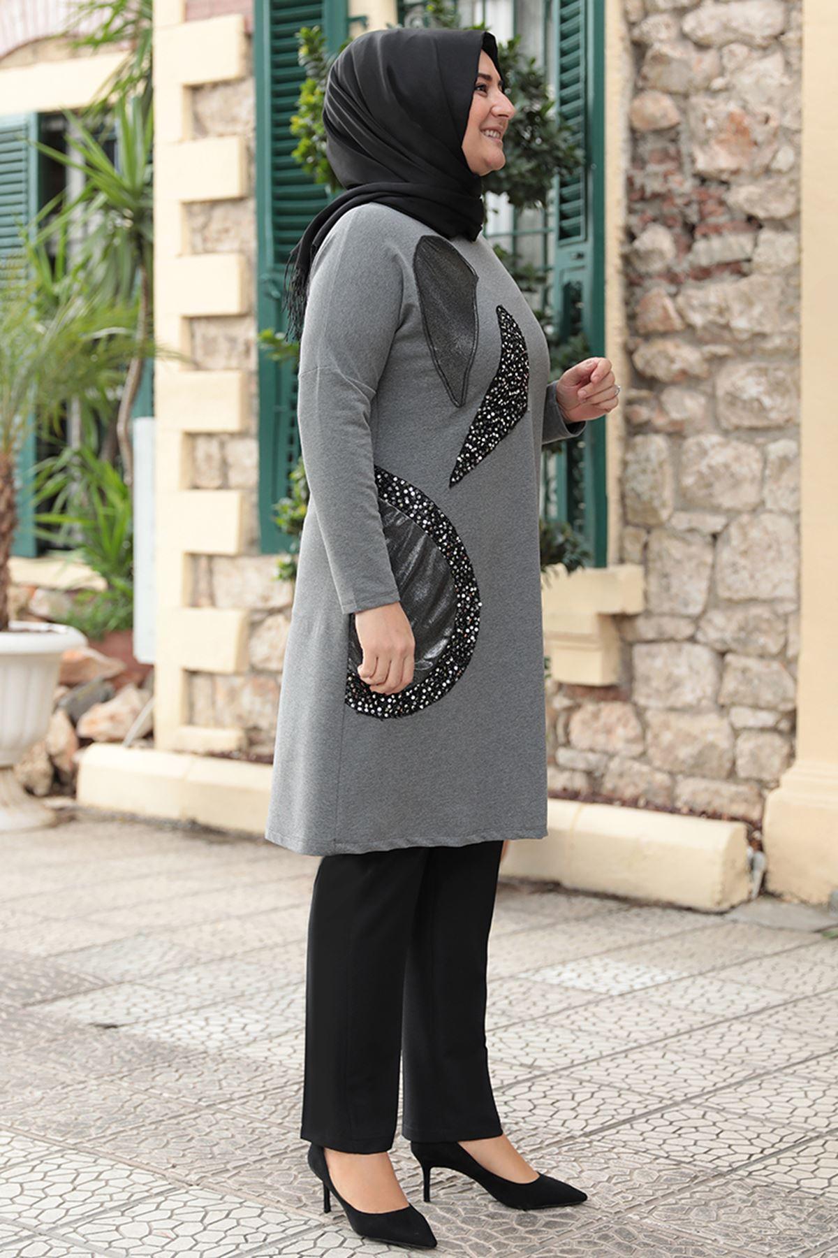 Emsale Işıltılı Tunik Gri Siyah EMS8318