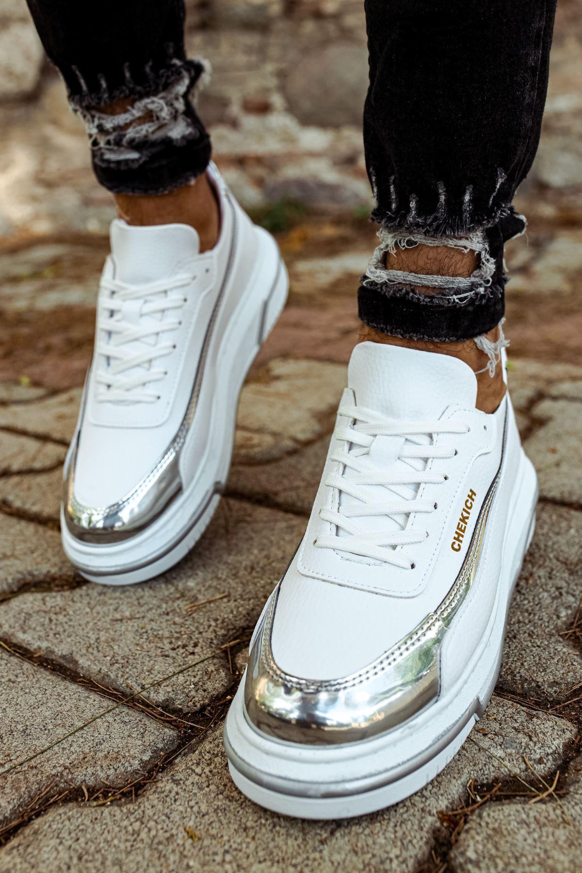 Chekich CH041 BT Erkek Ayakkabı BEYAZ/GUMUS
