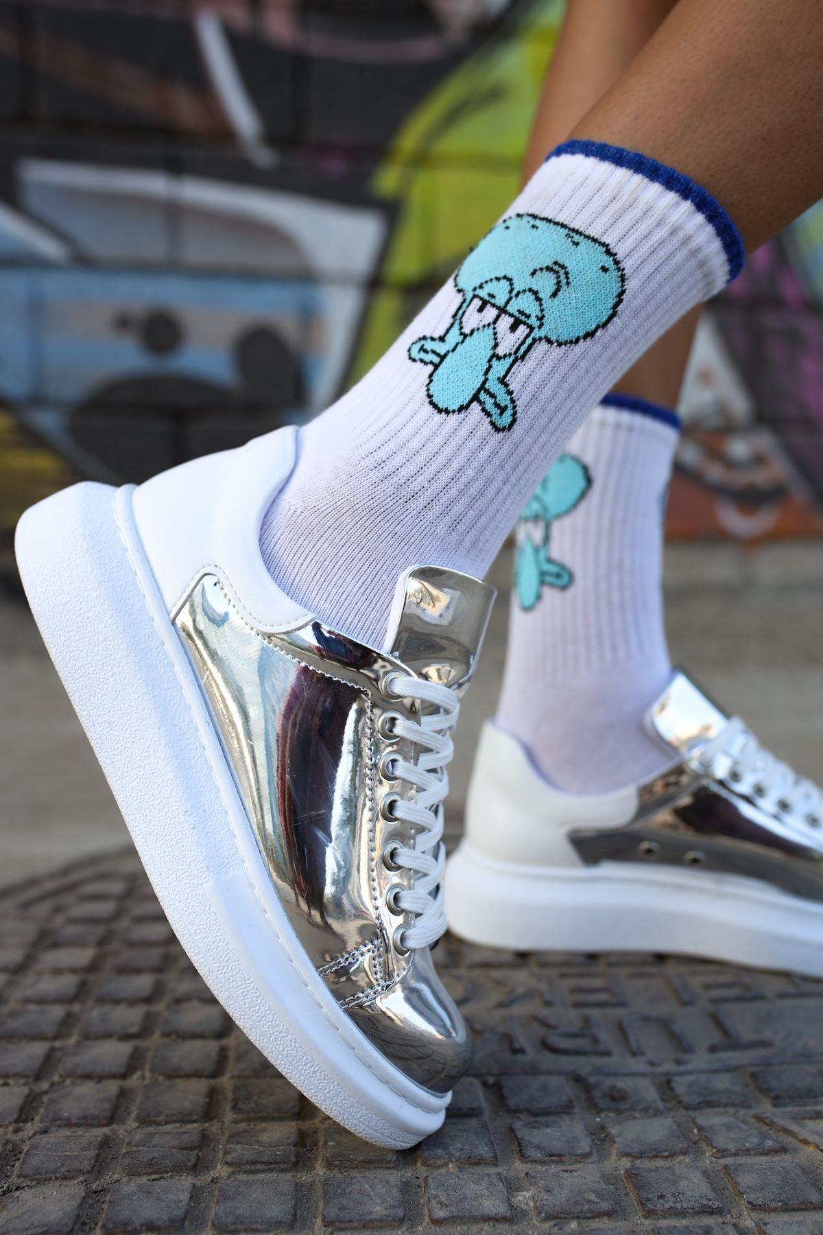 Chekich CH259 BT Kadın Ayakkabı GUMUS/BEYAZ