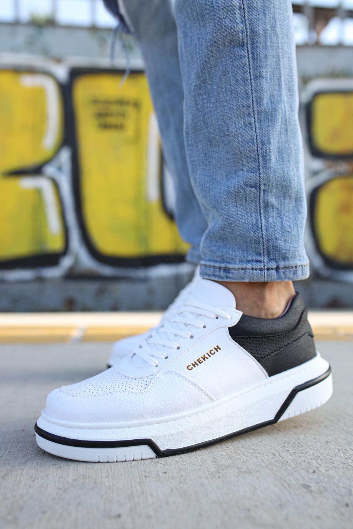 Chekich CH075 İpekyol Beyaz Taban Erkek Ayakkabı BEYAZ/SİYAH