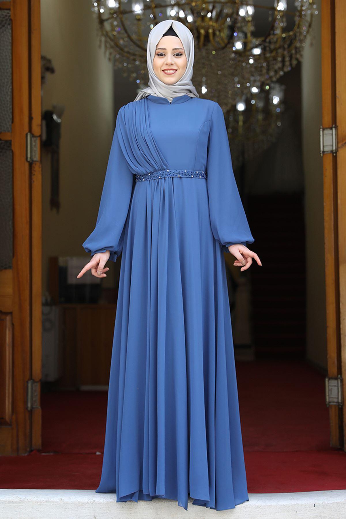 Amine Hüma Ahsen Elbise İndigo AMİ1051
