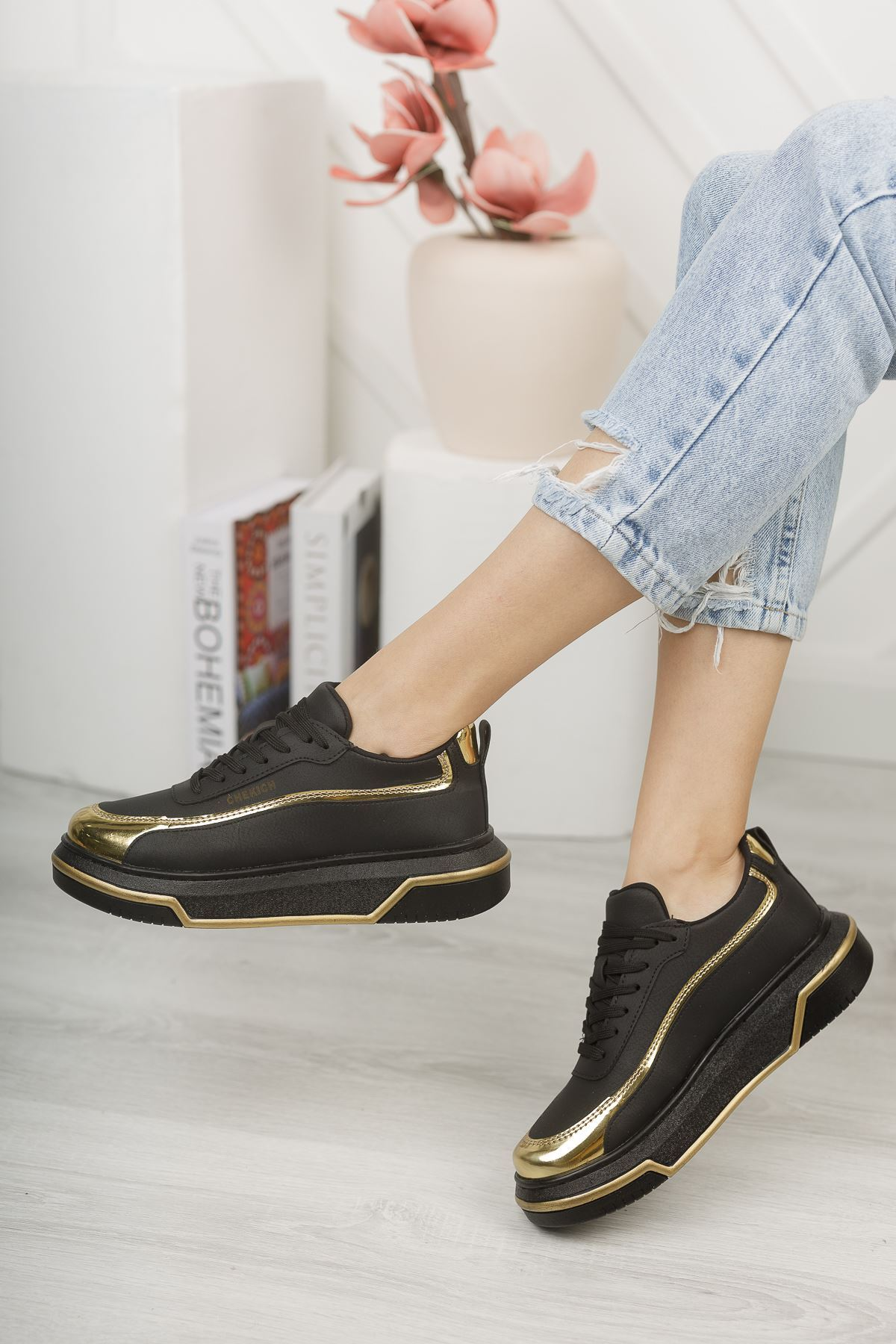 Chekich CH041 ST Kadın Ayakkabı SİYAH/ALTIN