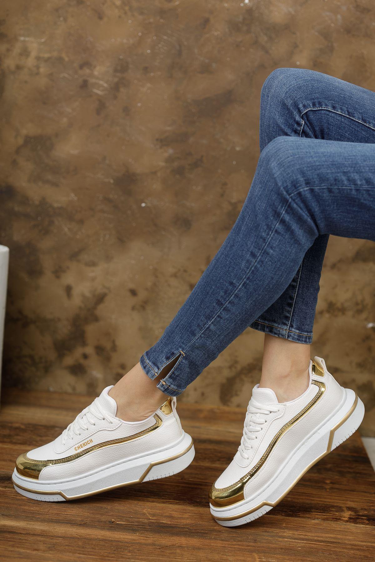 Chekich CH041 BT Kadın Ayakkabı BEYAZ/ALTIN
