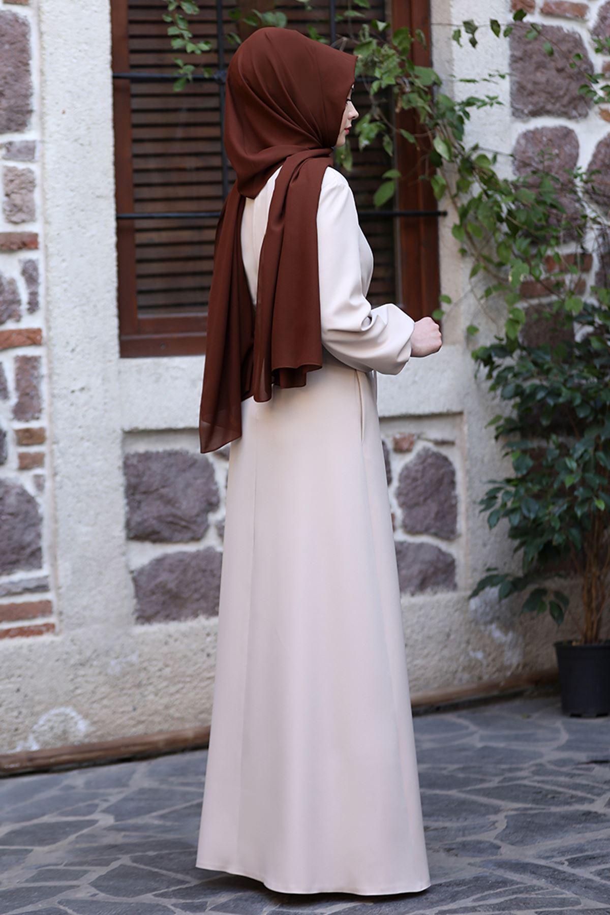 Sefa Nisa Masal Elbise Bej SEF3506