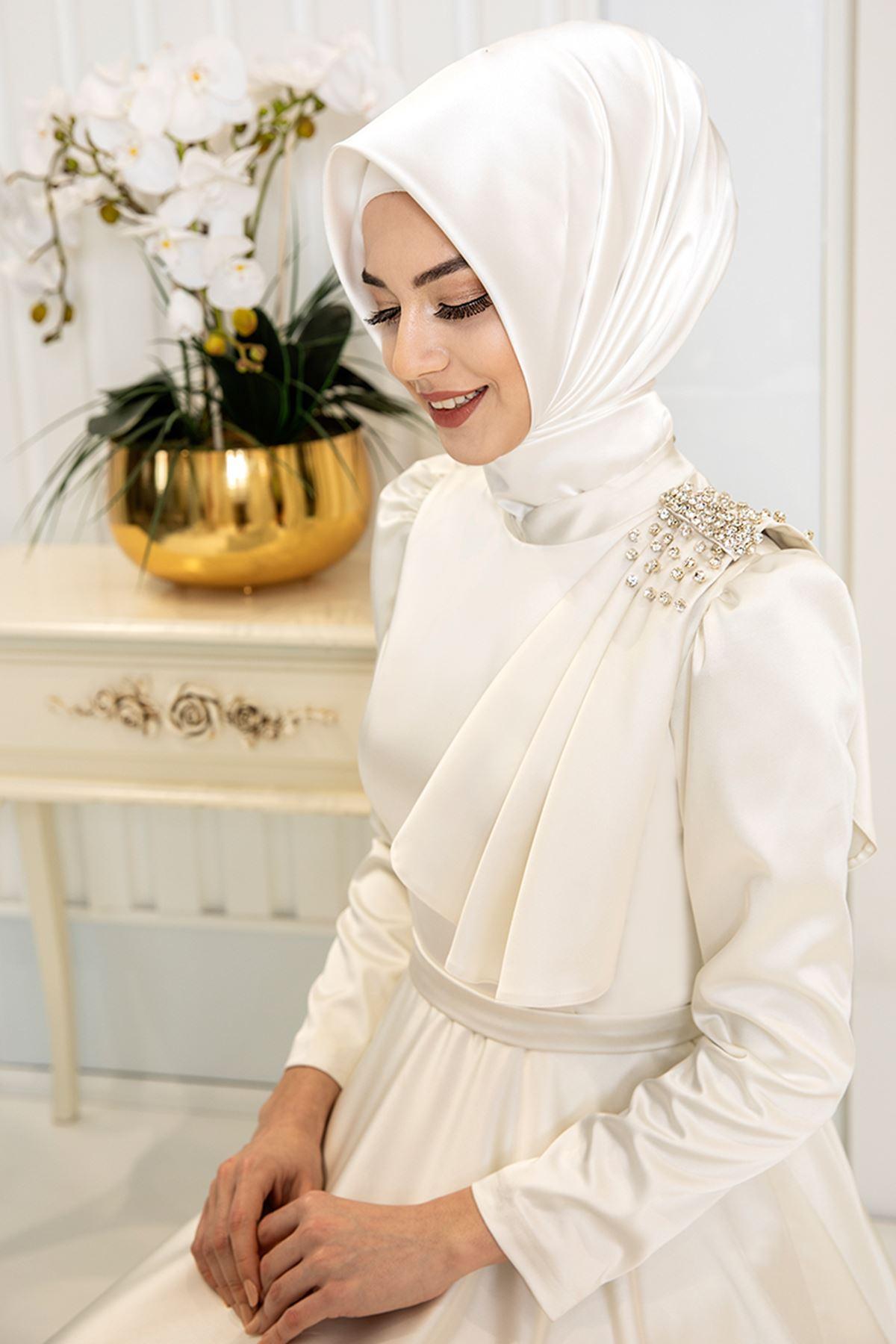 Pınar Şems Fiyonklu Saten Abiye Ekru PNR6136