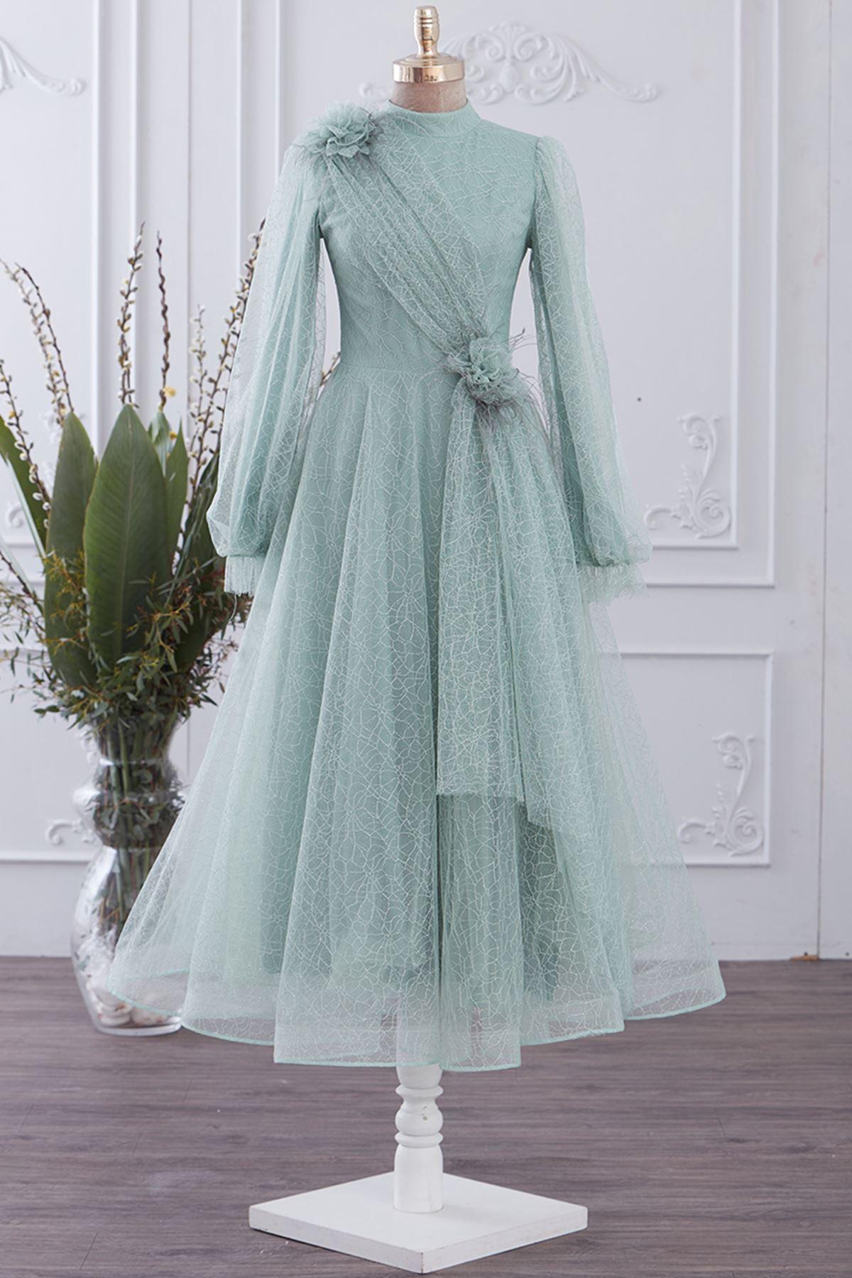 Gizem Kış Prenses Abiye Mint Yeşili GİZ5313
