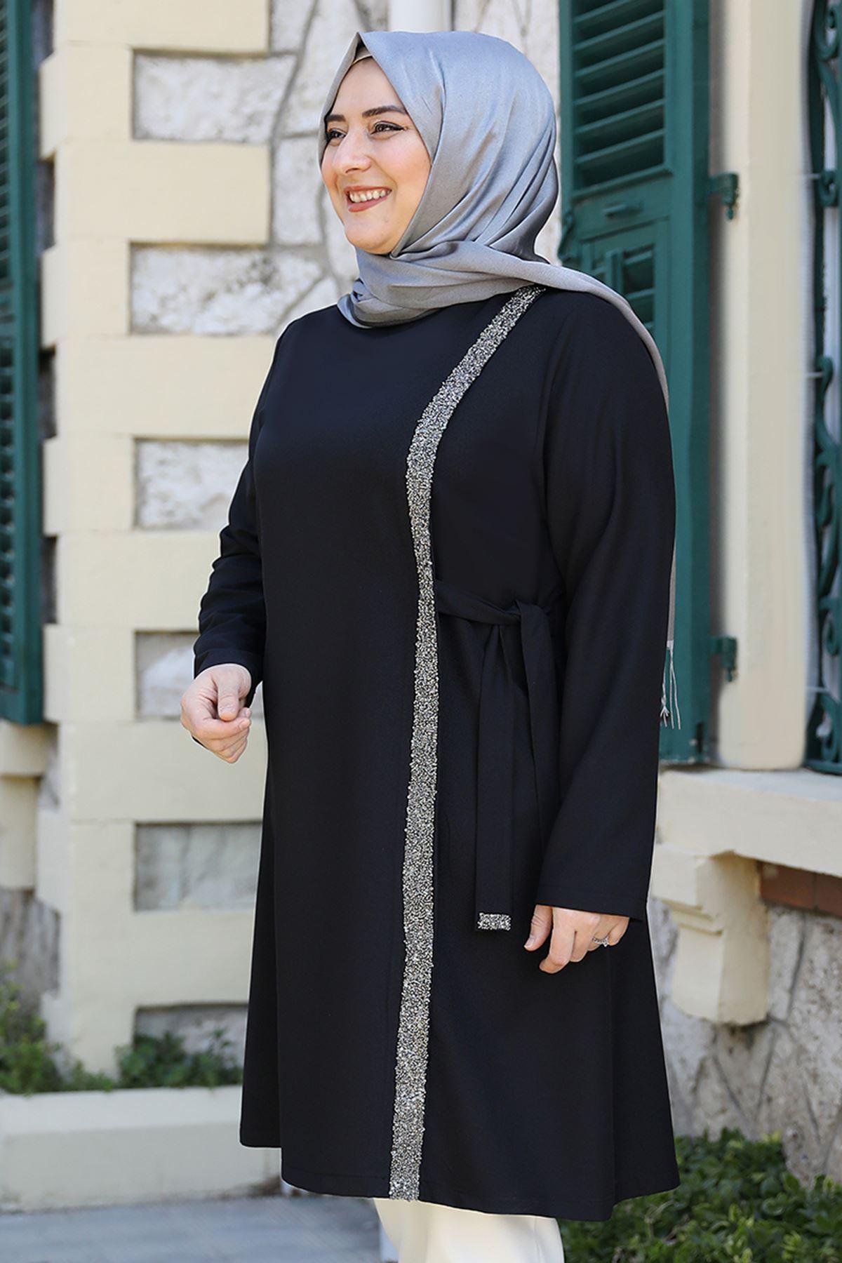 Emsale İpek Tunik Siyah EMS8335