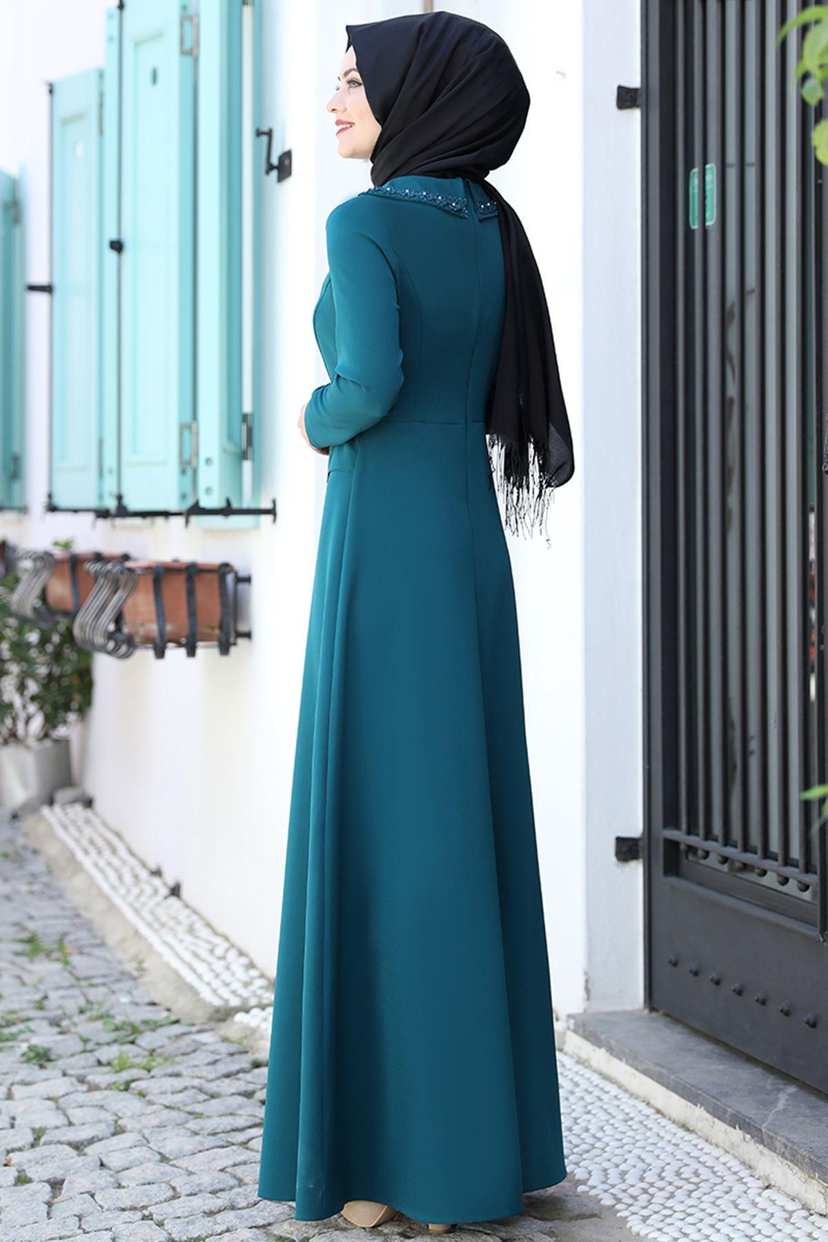 Ahunisa Ayliz Elbise Petrol AHU9318