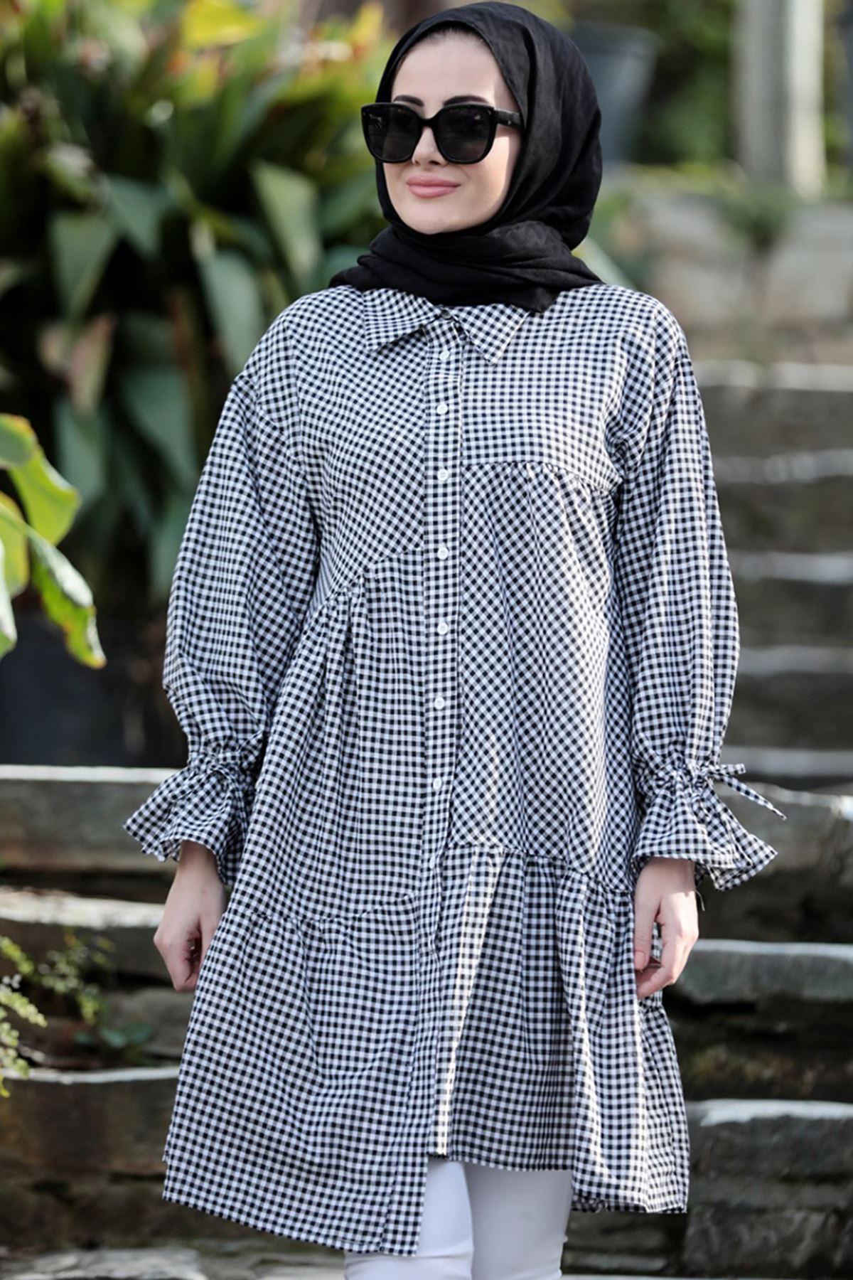 Seda Tiryaki Maxi Tunik Siyah SED3704