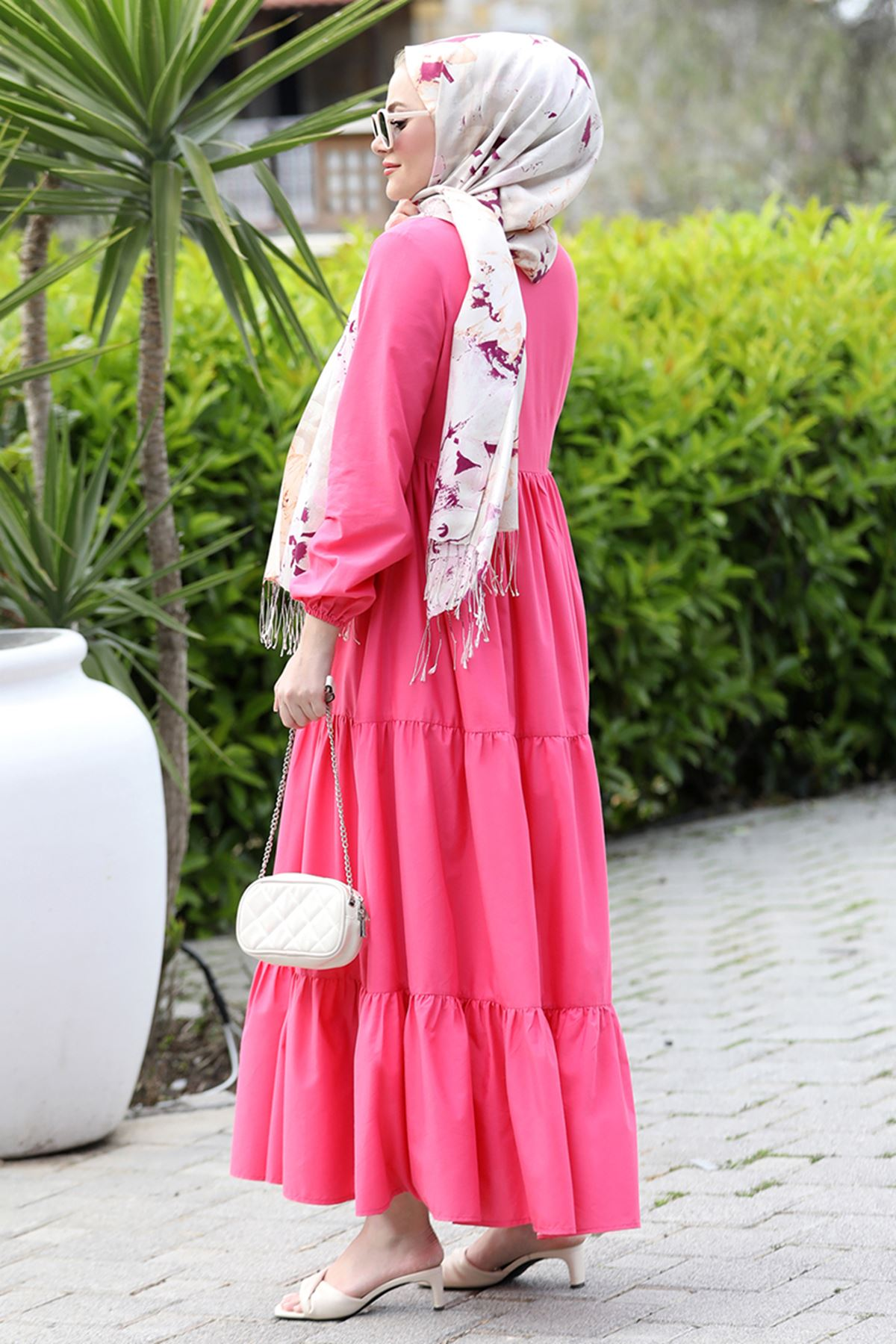 Seda Tiryaki Alaçatı Elbise Fuşya SED3706