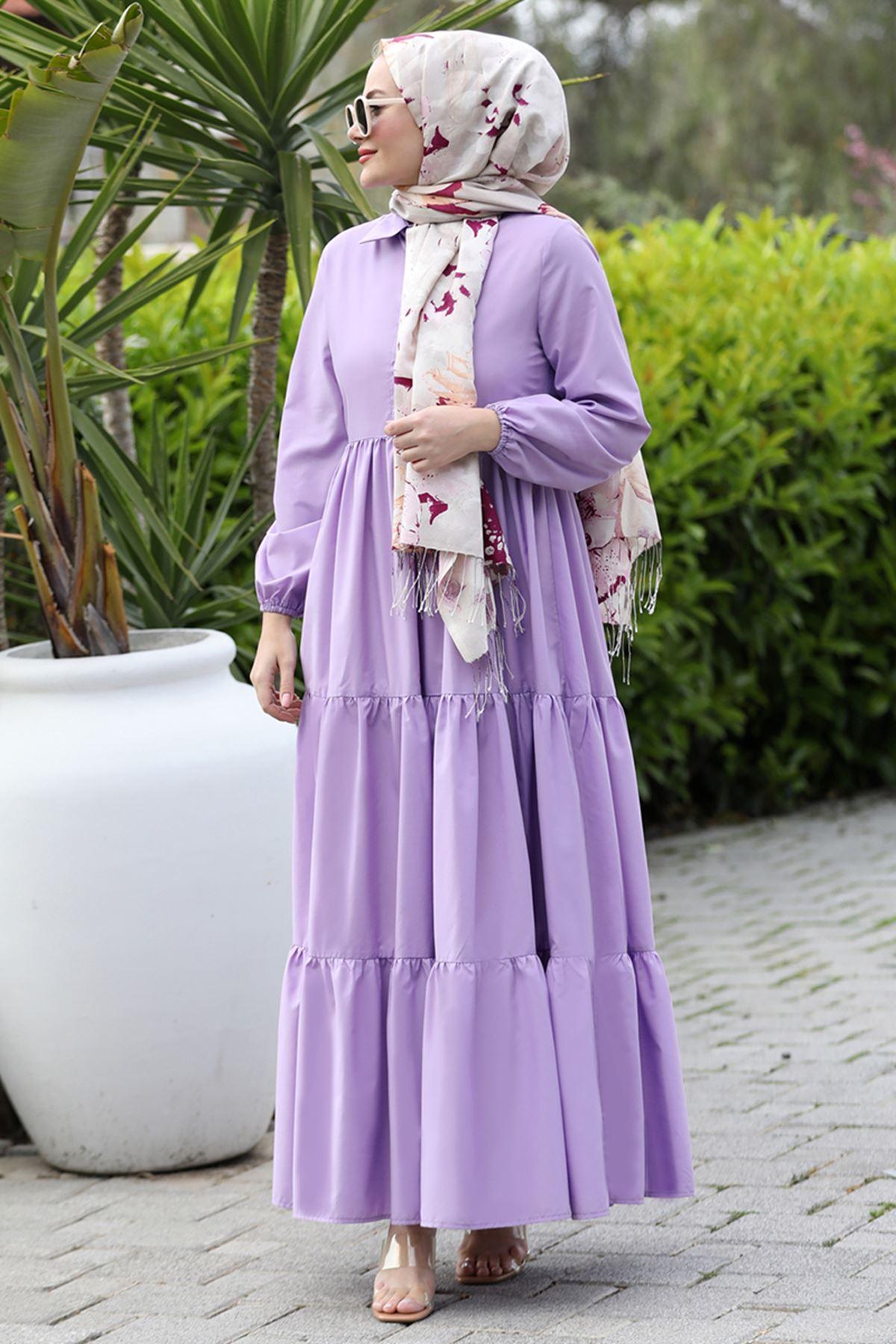 Seda Tiryaki Alaçatı Elbise Leylak SED3706