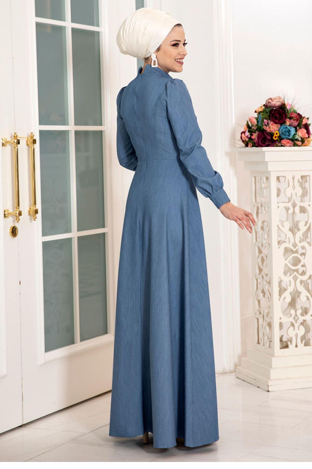 DressLife Mira Kot Elbise Mavi DRE2022