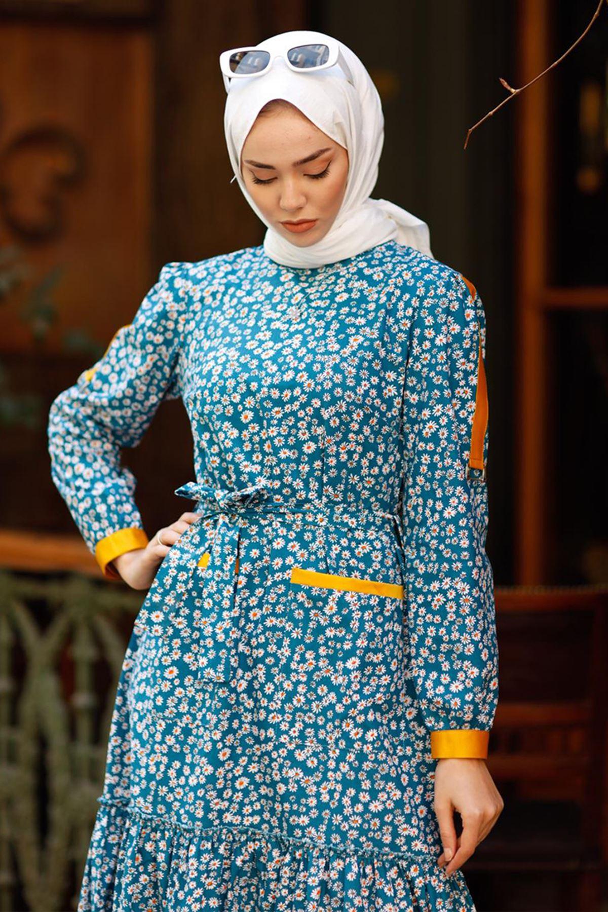 Hümeyra Arslan  Bahar Elbise Mavi HÜM6310