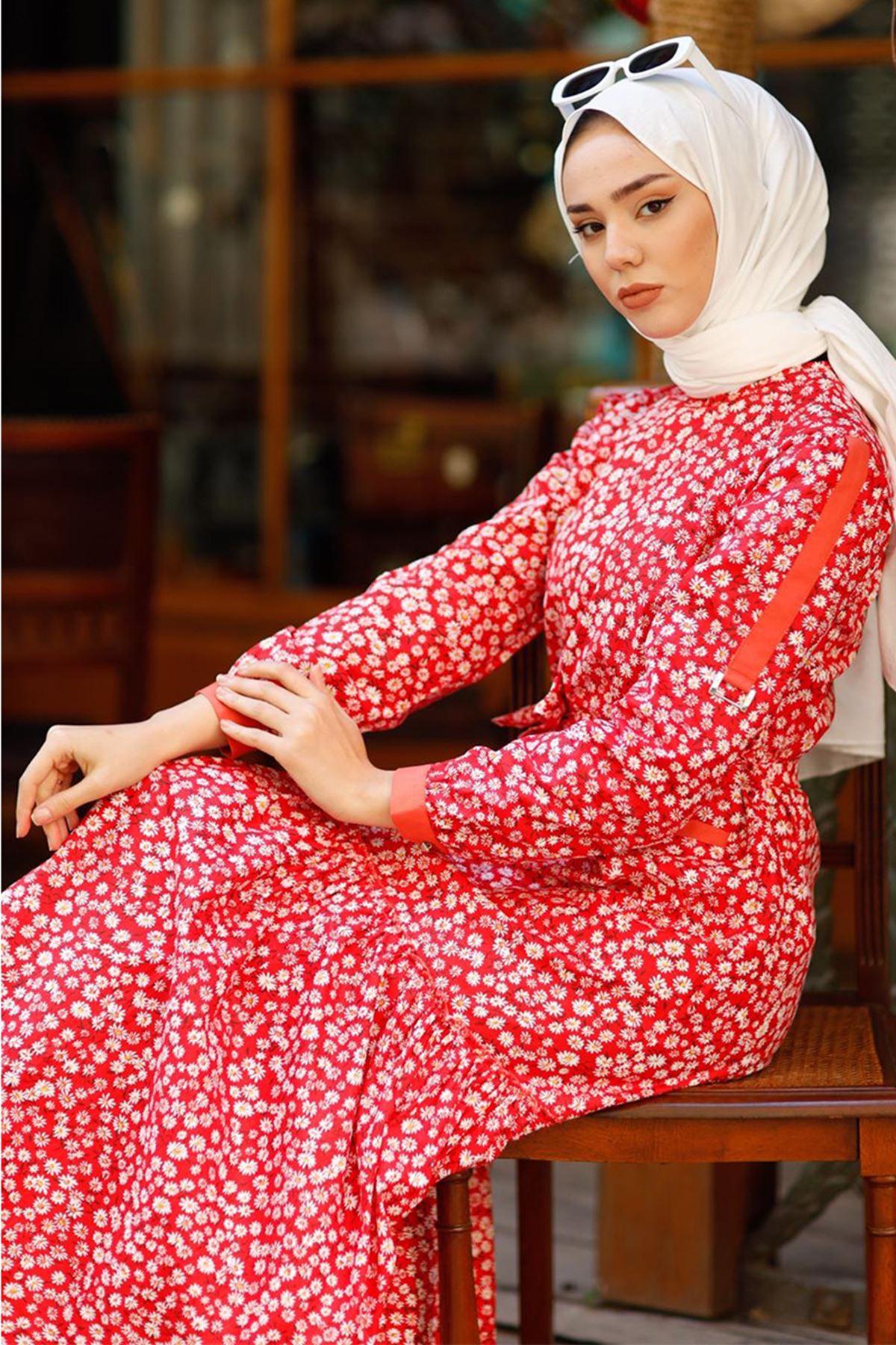 Hümeyra Arslan  Bahar Elbise Kırmızı HÜM6310