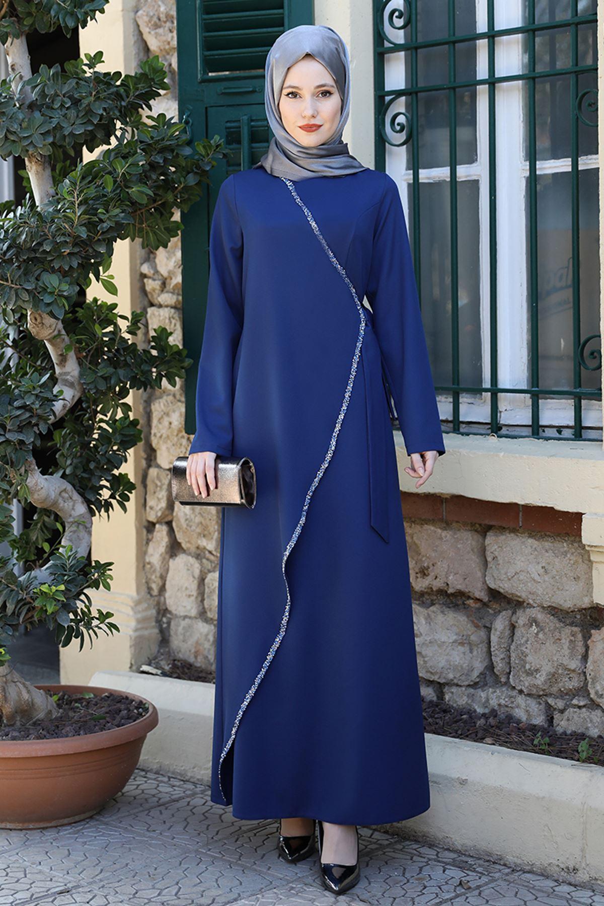 Emsale Simge Elbise İndigo EMS8337