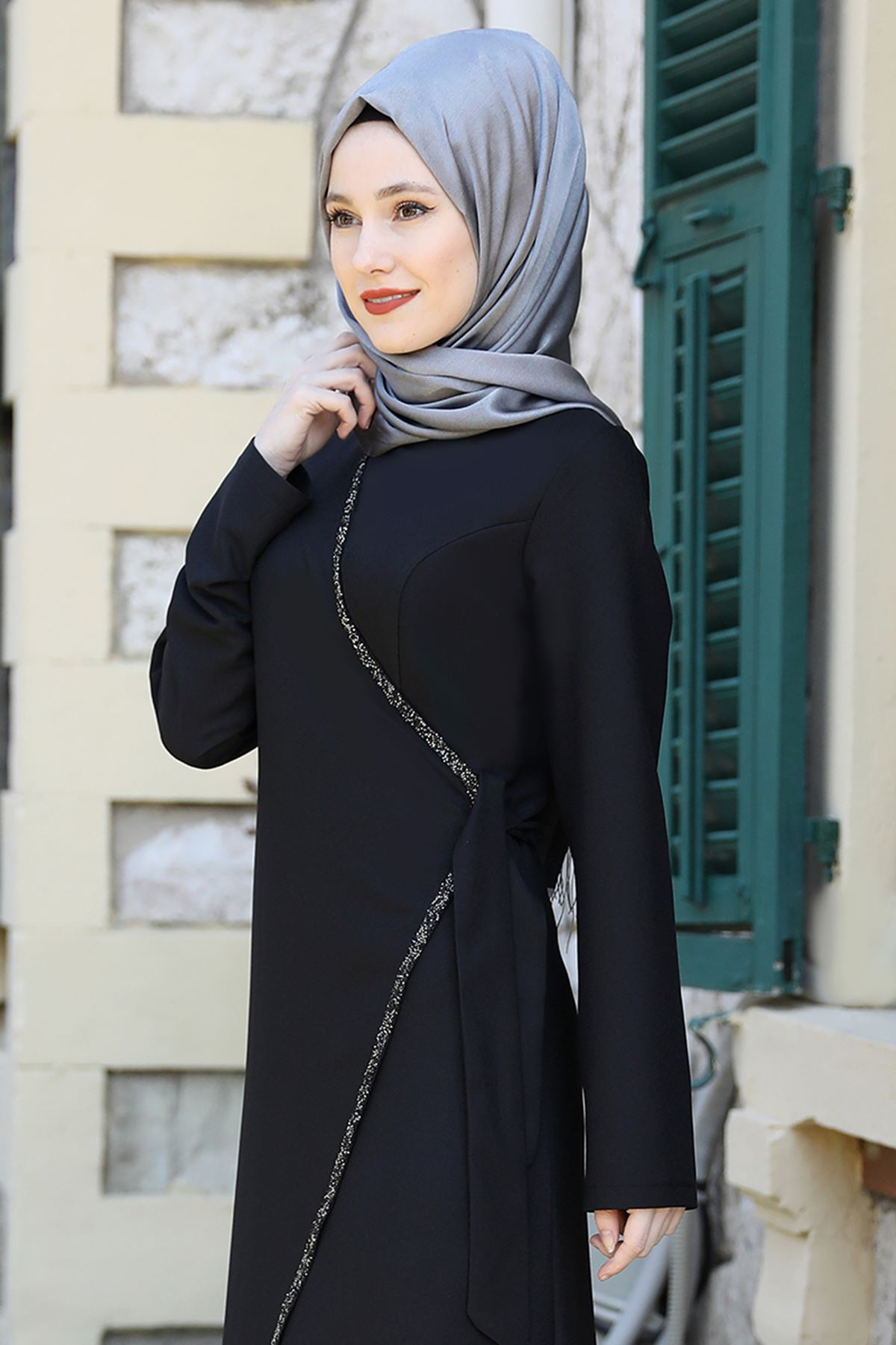 Emsale Simge Elbise  Siyah EMS8337