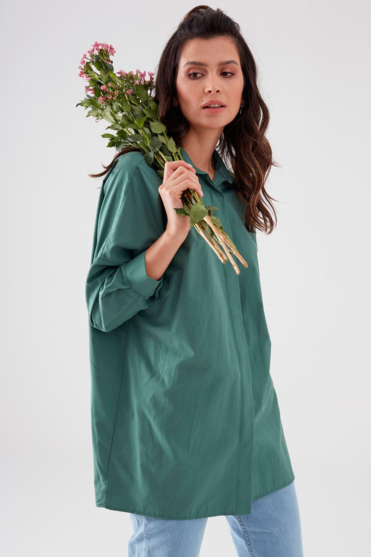 Nurgül Çakır Alins Gömlek Yeşil NUR7101