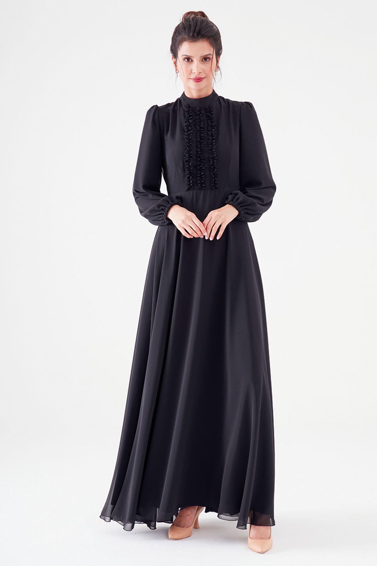 Nurgül Çakır Polina Elbise Siyah NUR7106