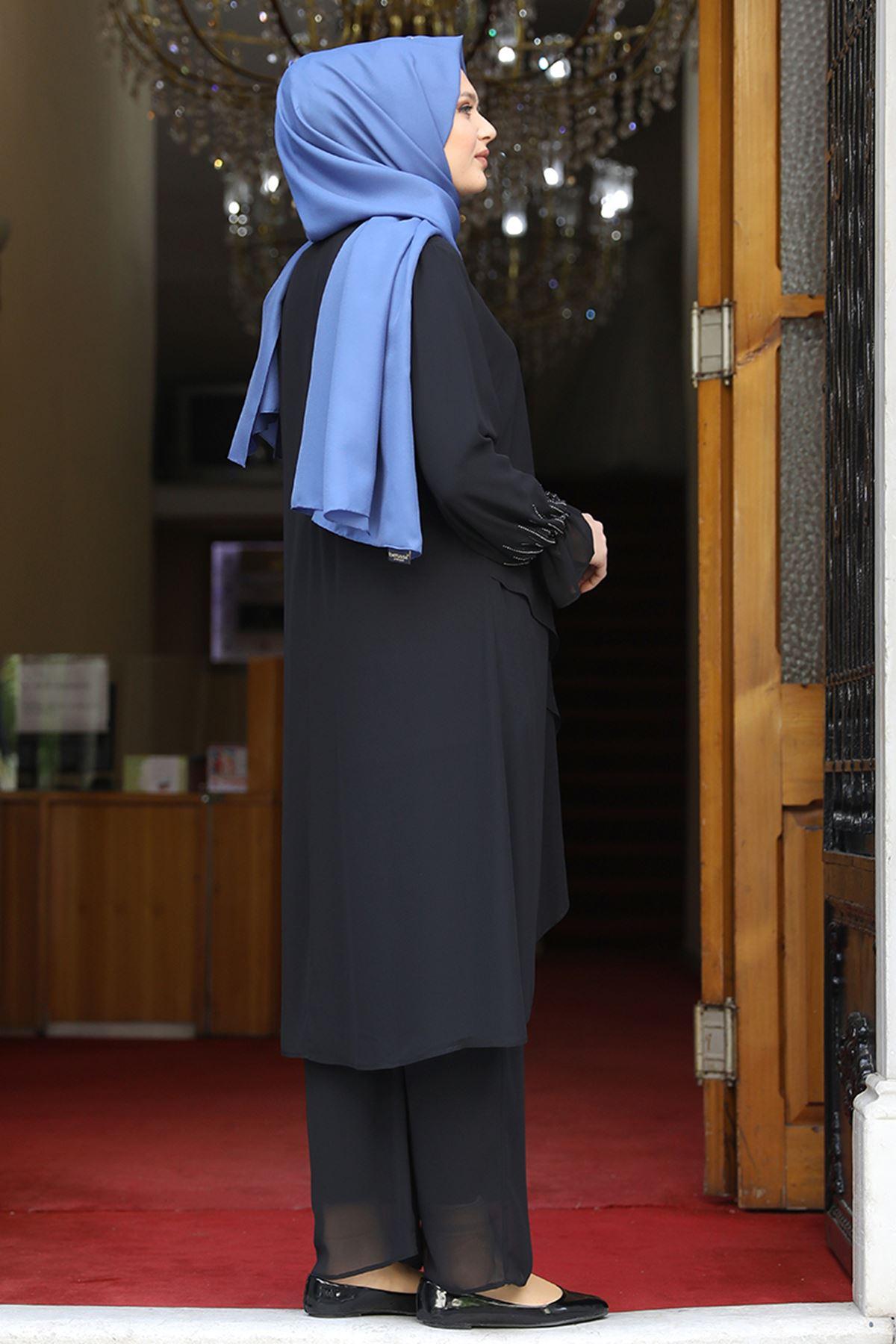 Amine Hüma Azra İkili Takım Siyah AMİ1070