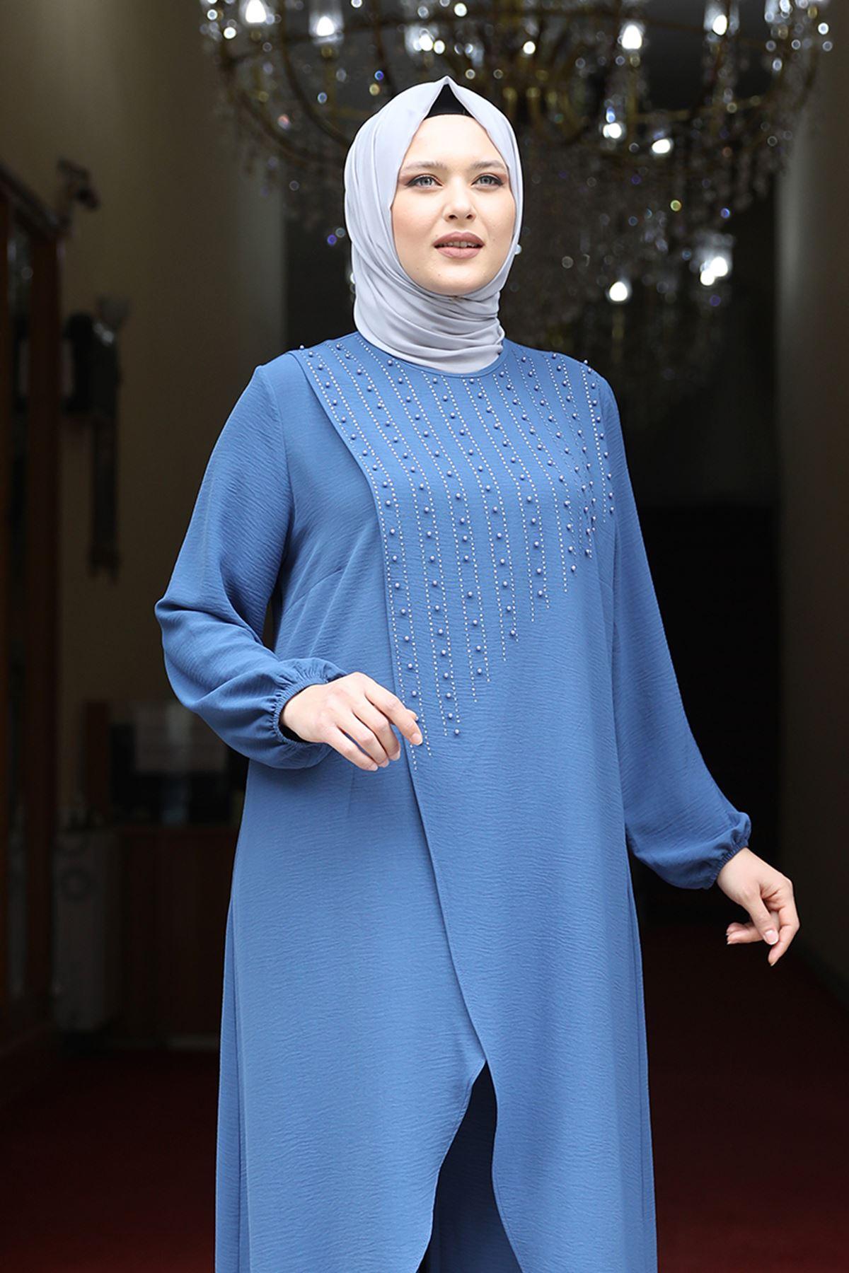 Amine Hüma İnci İkili Takım Mavi AMİ1071