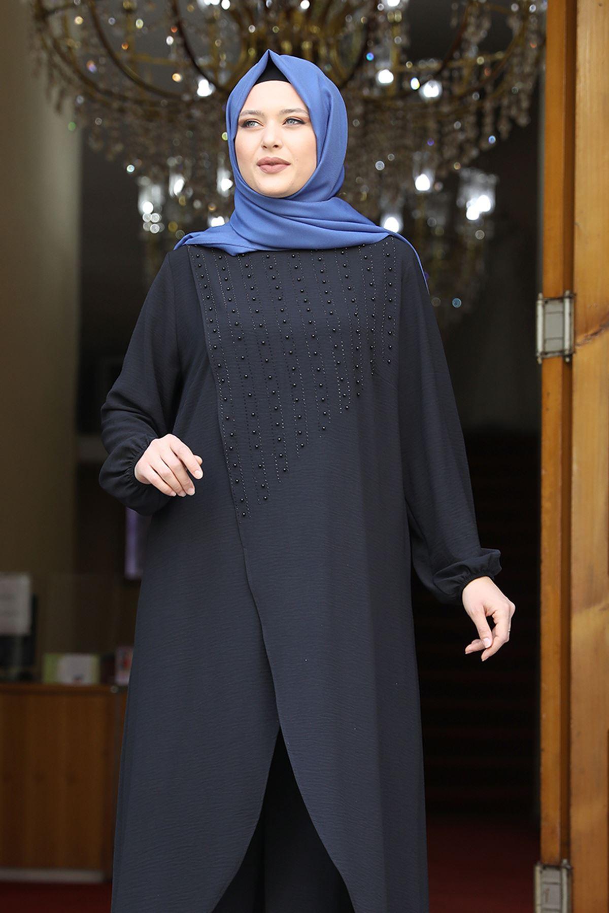 Amine Hüma İnci İkili Takım Siyah AMİ1071